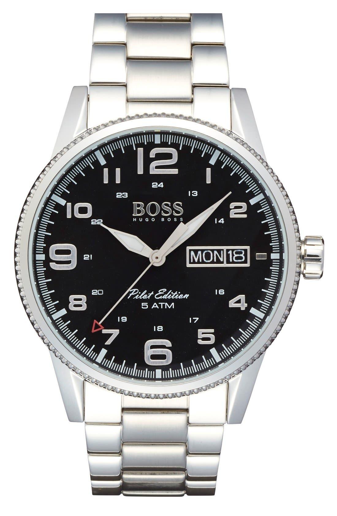 'Pilot' Bracelet Watch, 44mm,                             Main thumbnail 1, color,                             040