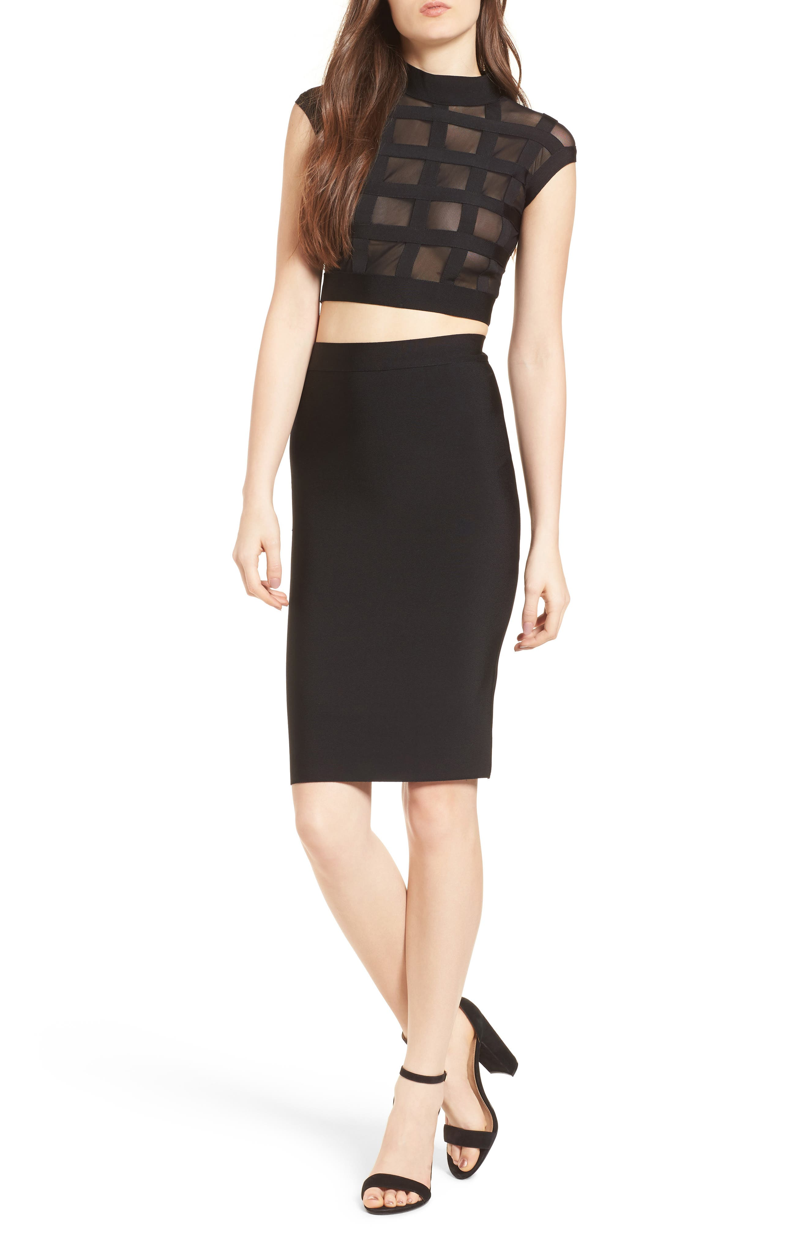 Cagebird Two-Piece Body-Con Dress,                             Main thumbnail 1, color,                             BLACK