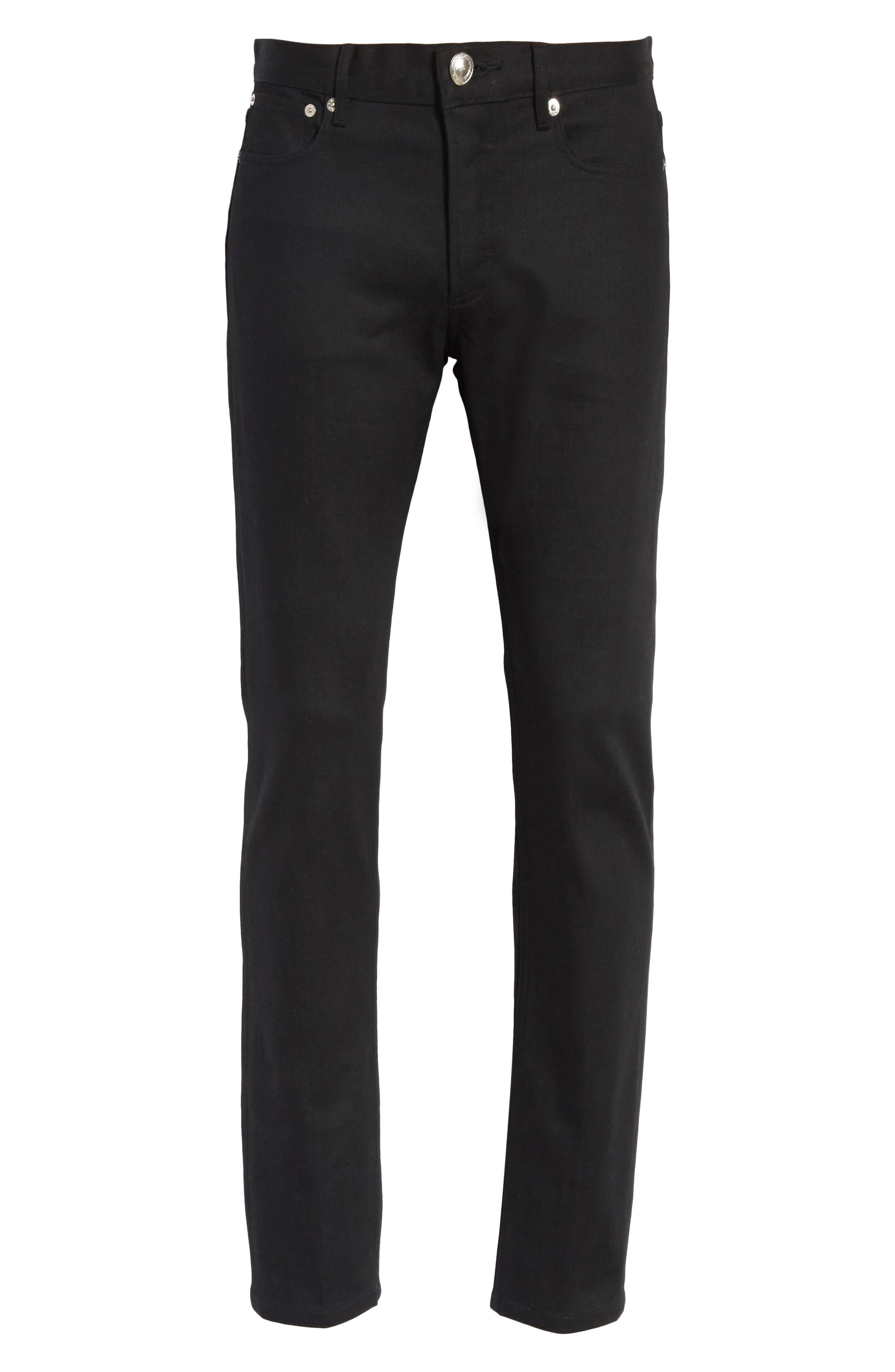 Petit New Standard Stretch Skinny Fit Jeans,                             Alternate thumbnail 6, color,                             BLACK