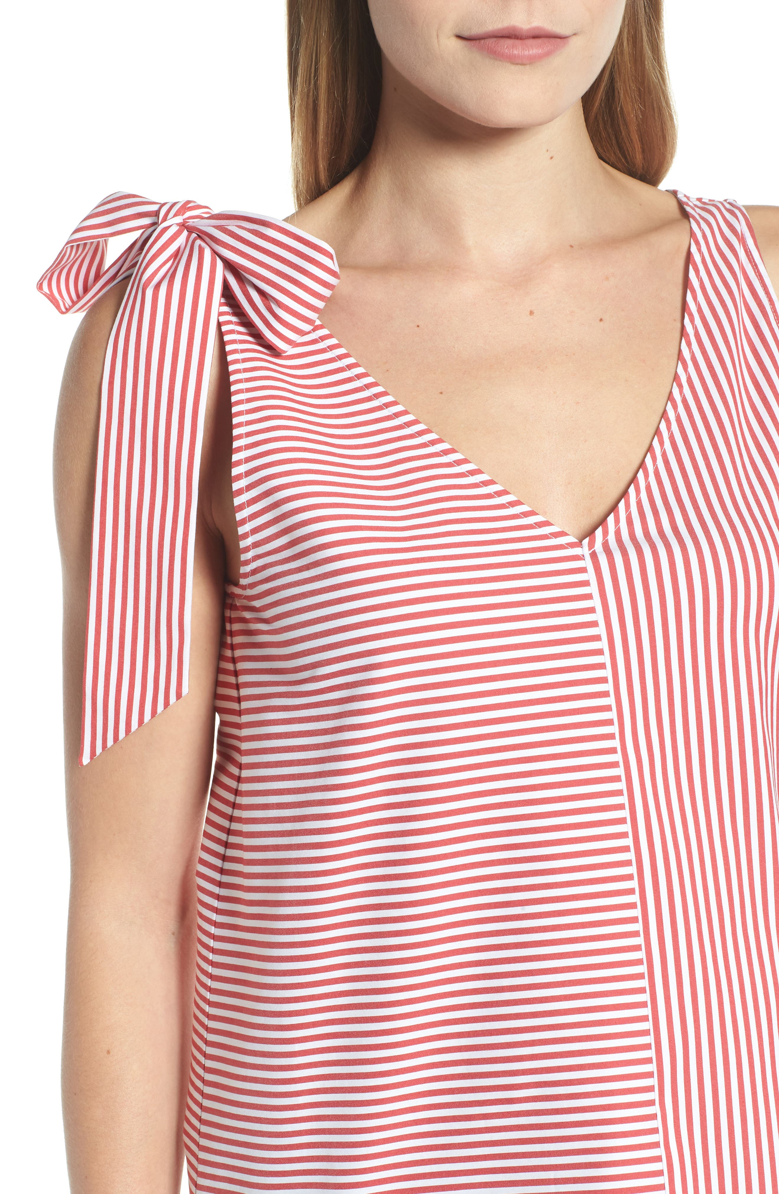 Sleeveless Striped Bow Top,                             Alternate thumbnail 4, color,                             621
