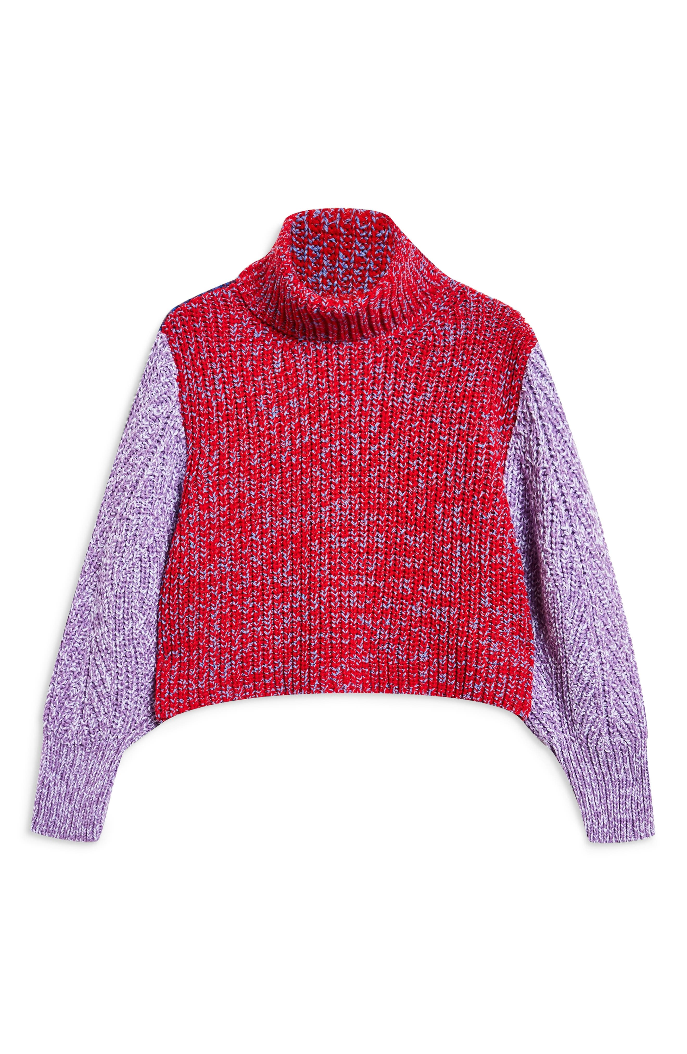 TOPSHOP,                             Three Color Roll Neck Sweater,                             Alternate thumbnail 3, color,                             RED MULTI