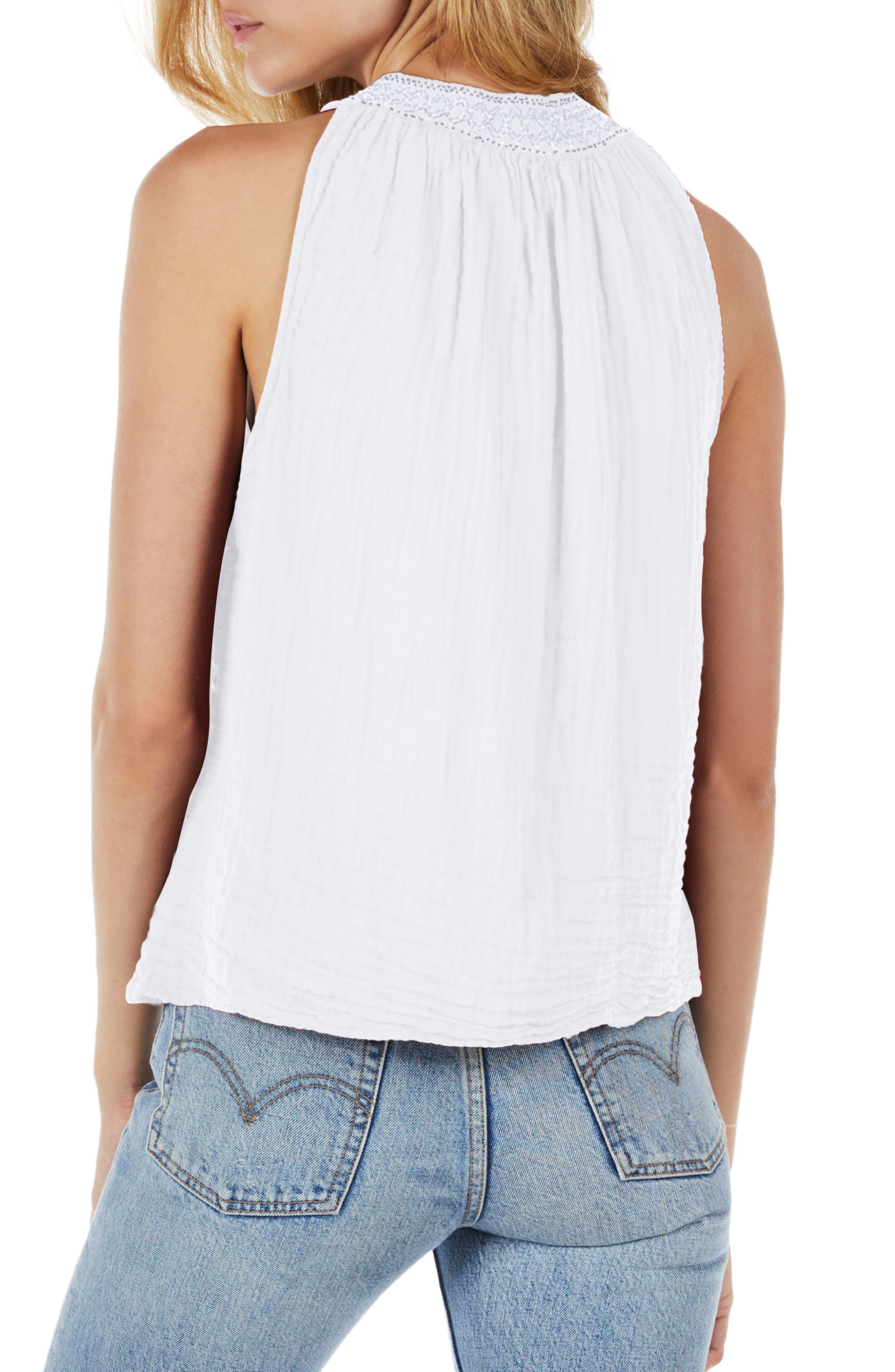 Embroidered Neck Tank,                             Alternate thumbnail 2, color,                             100