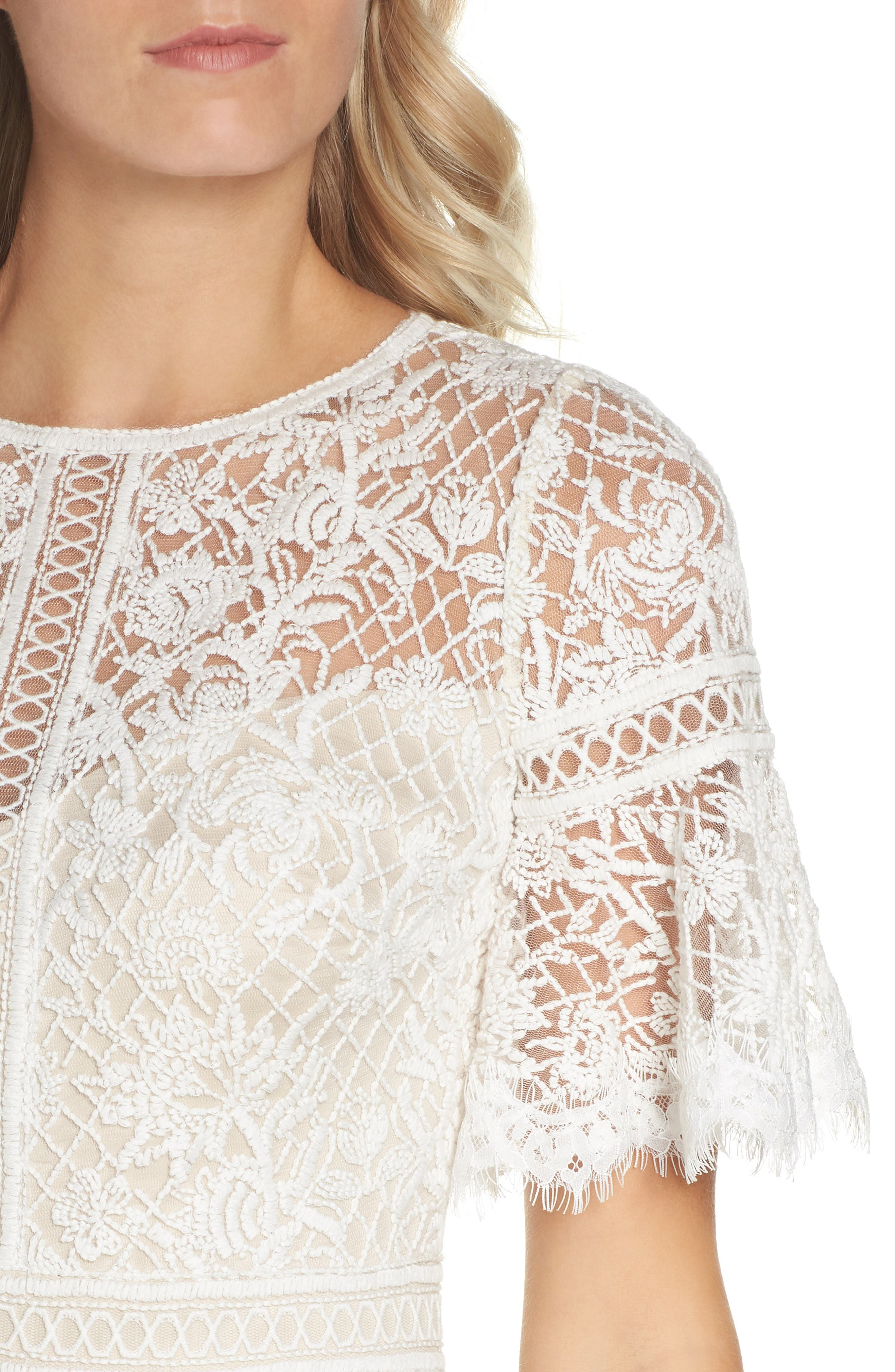 Embroidered Mesh Dress,                             Alternate thumbnail 4, color,                             IVORY/ NATURAL