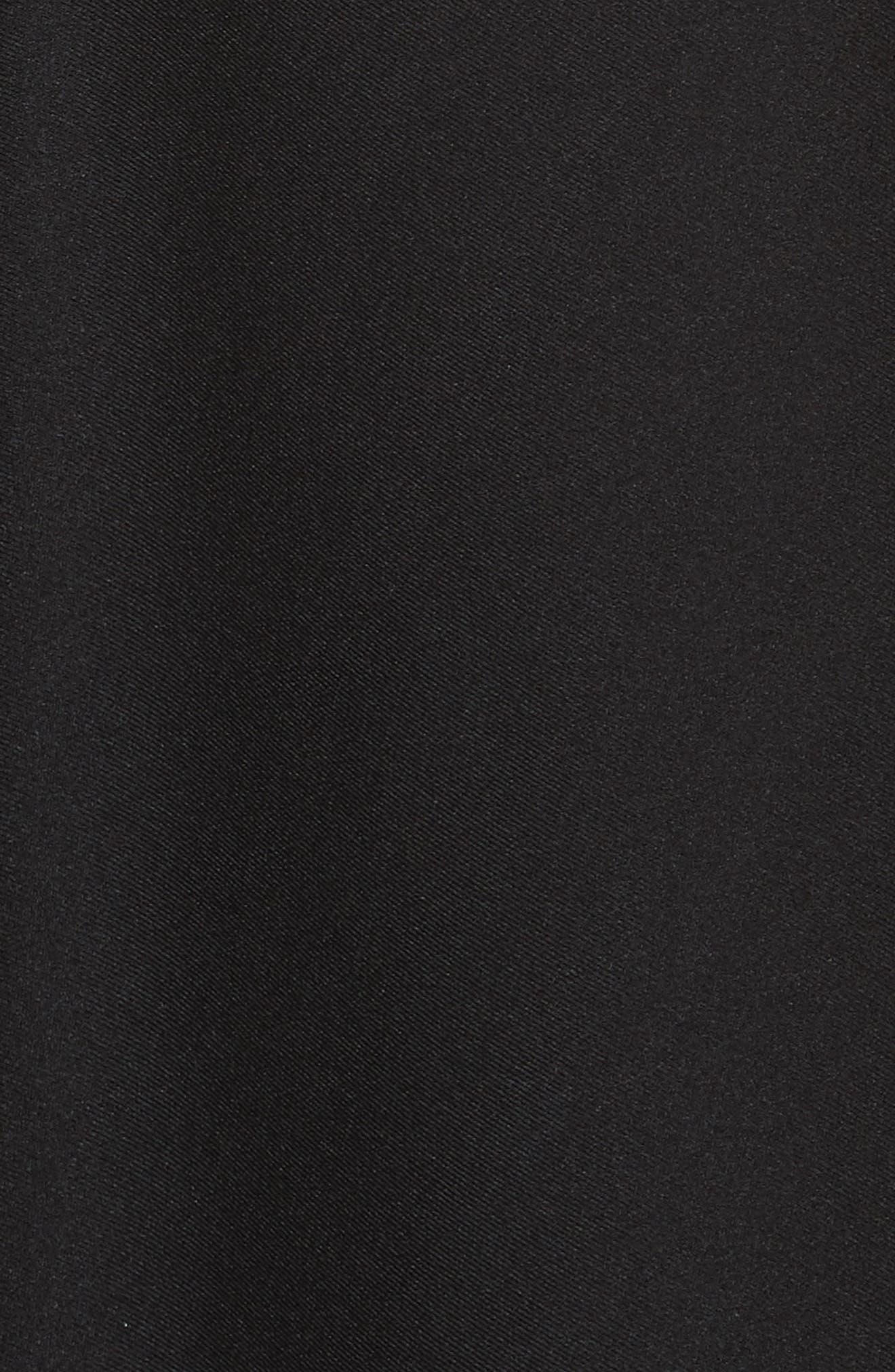 Logo Waist Cutout Fit & Flare Dress,                             Alternate thumbnail 5, color,                             BLACK