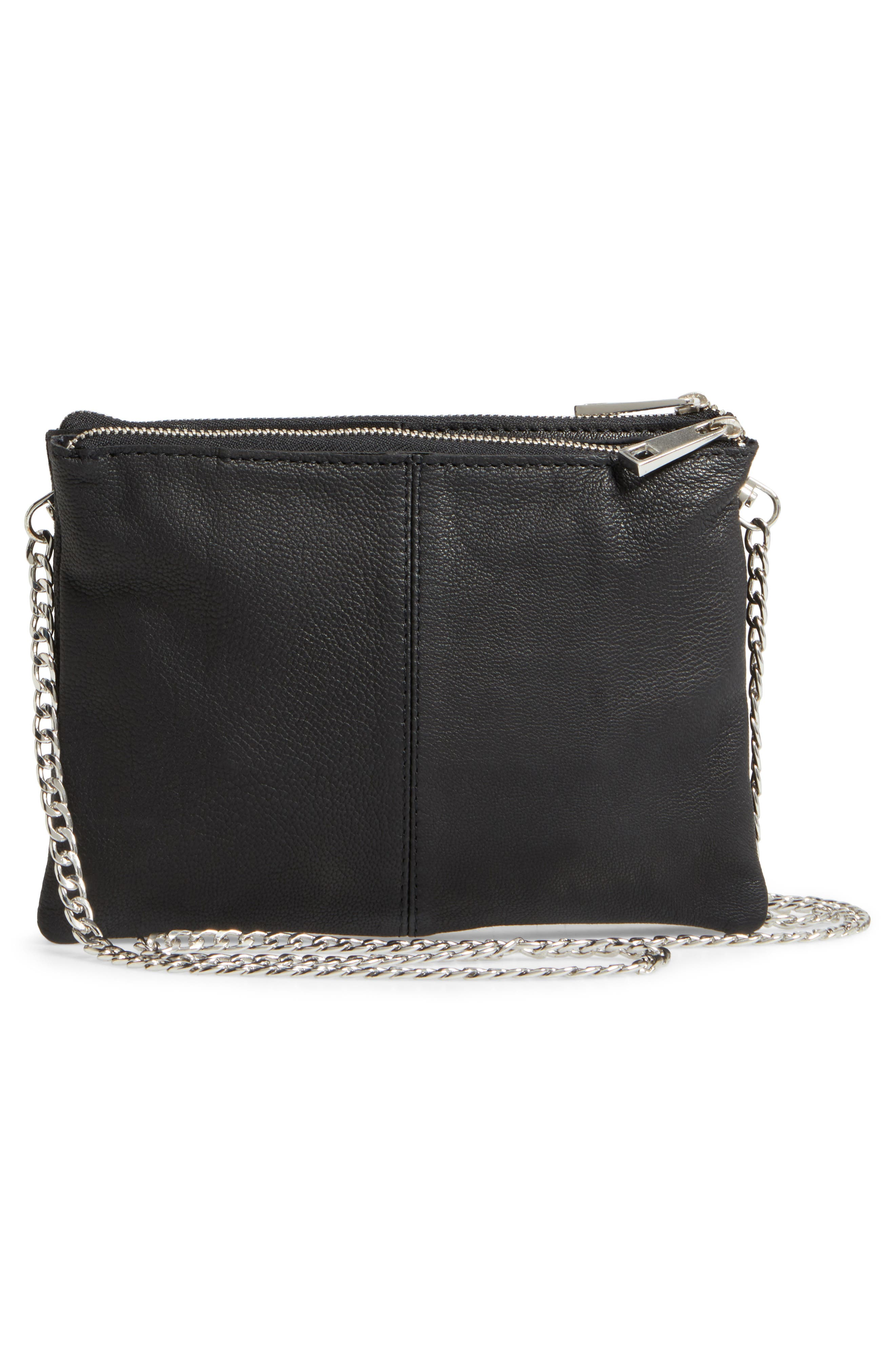 Oakley Leather & Genuine Calf Hair Crossbody Bag,                             Alternate thumbnail 3, color,                             001