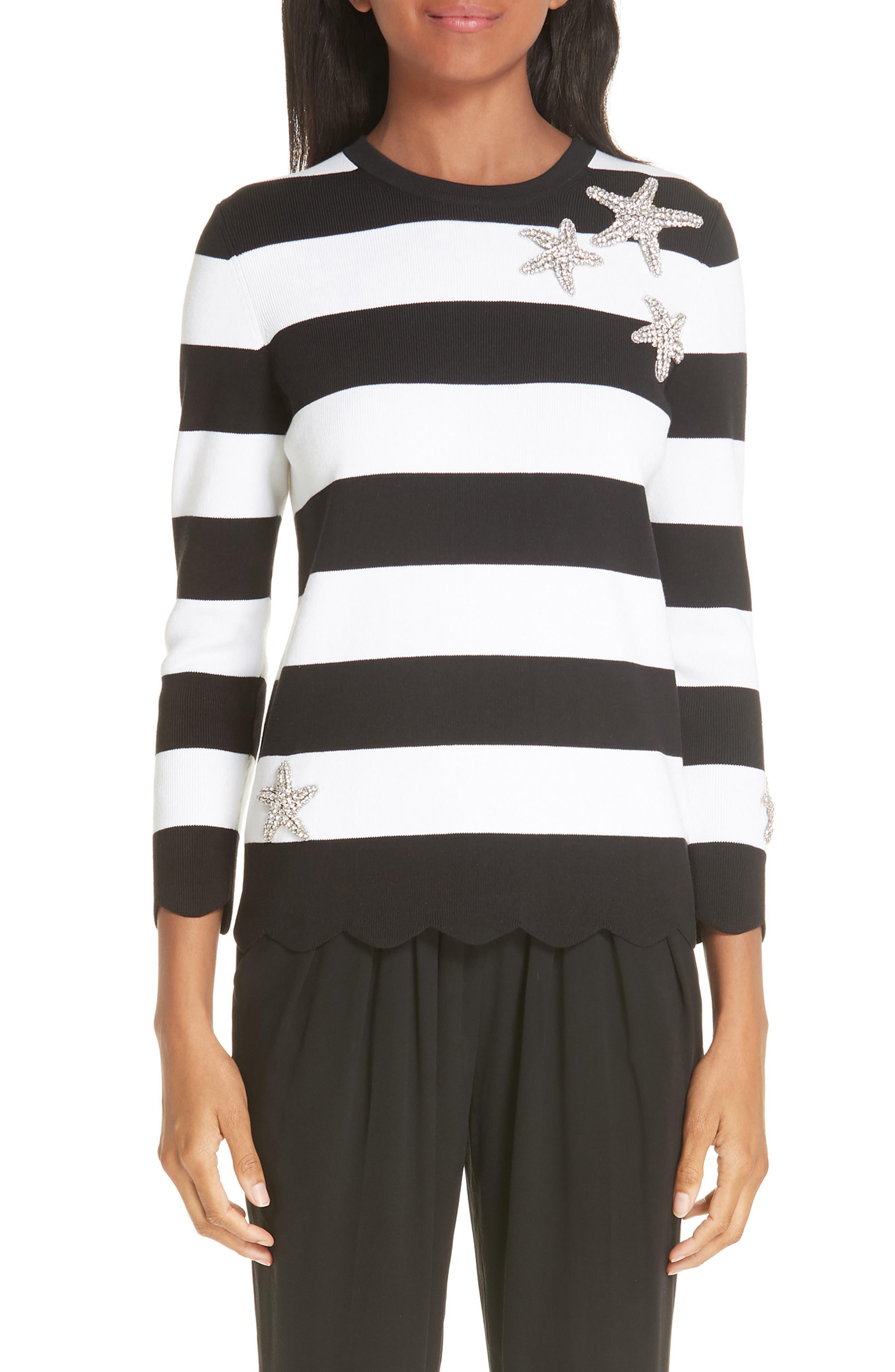 Starfish Embellished Scallop Hem Sweater,                             Main thumbnail 1, color,                             BLACK/ WHITE