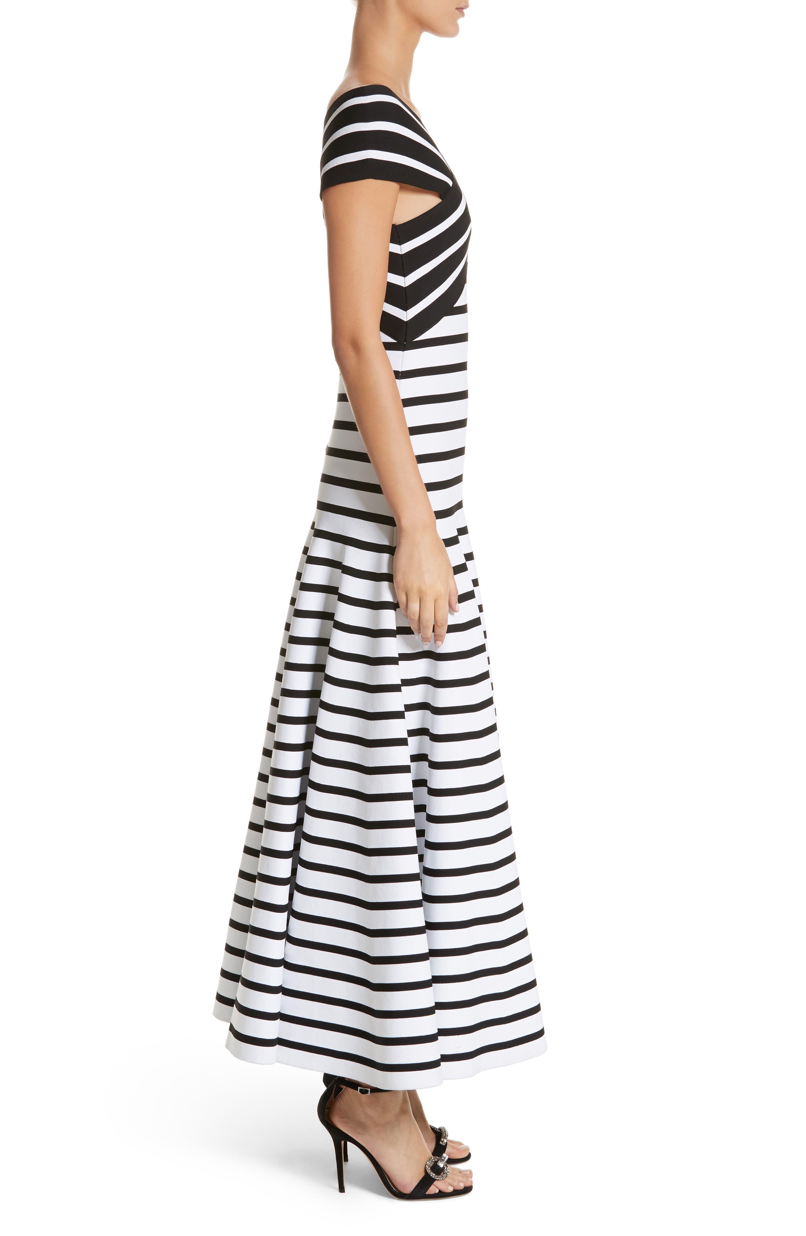 Stripe Off the Shoulder Maxi Dress,                             Alternate thumbnail 3, color,