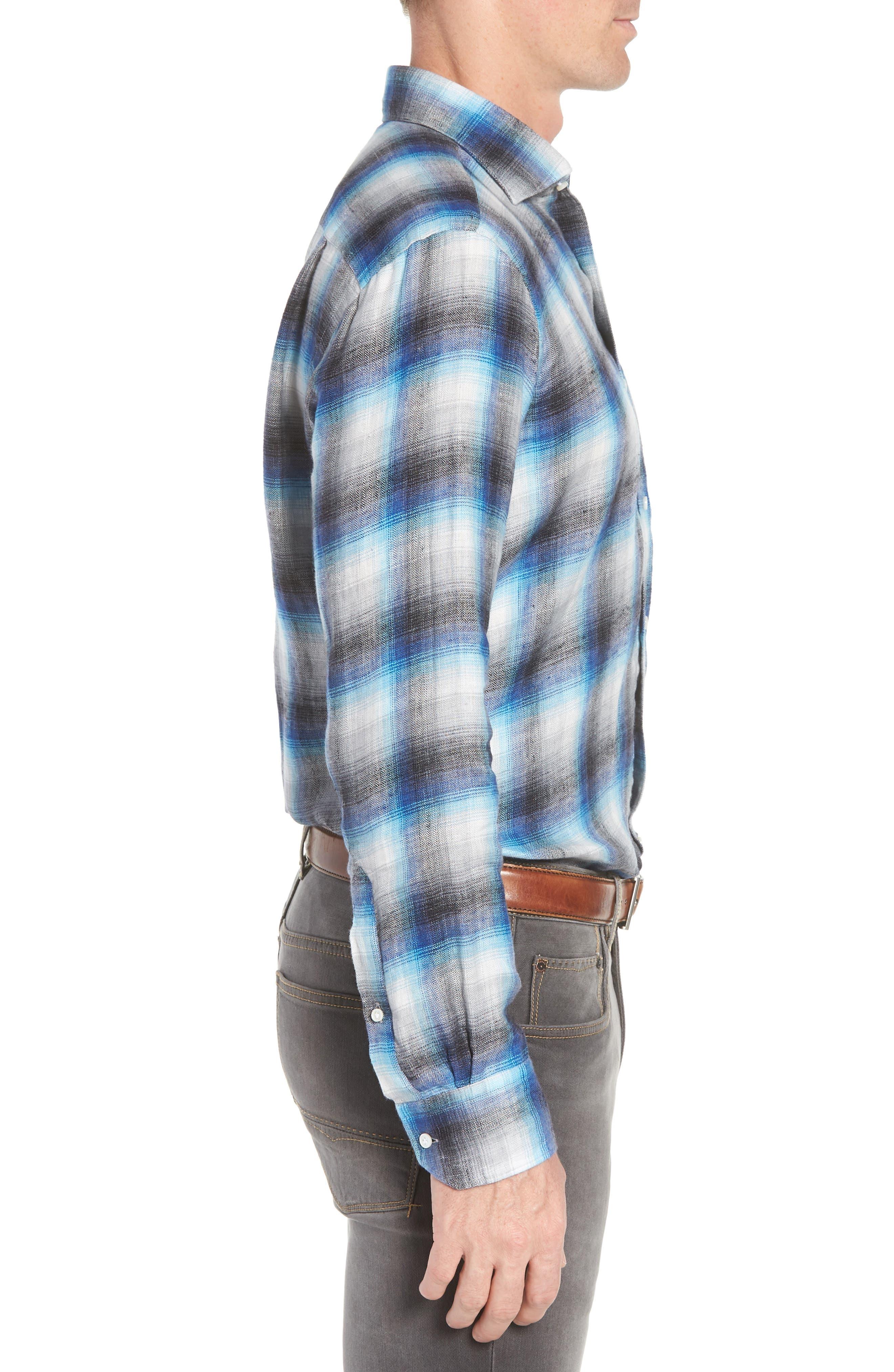 Bisti Regular Fit Plaid Linen Sport Shirt,                             Alternate thumbnail 3, color,                             BARCHETTA
