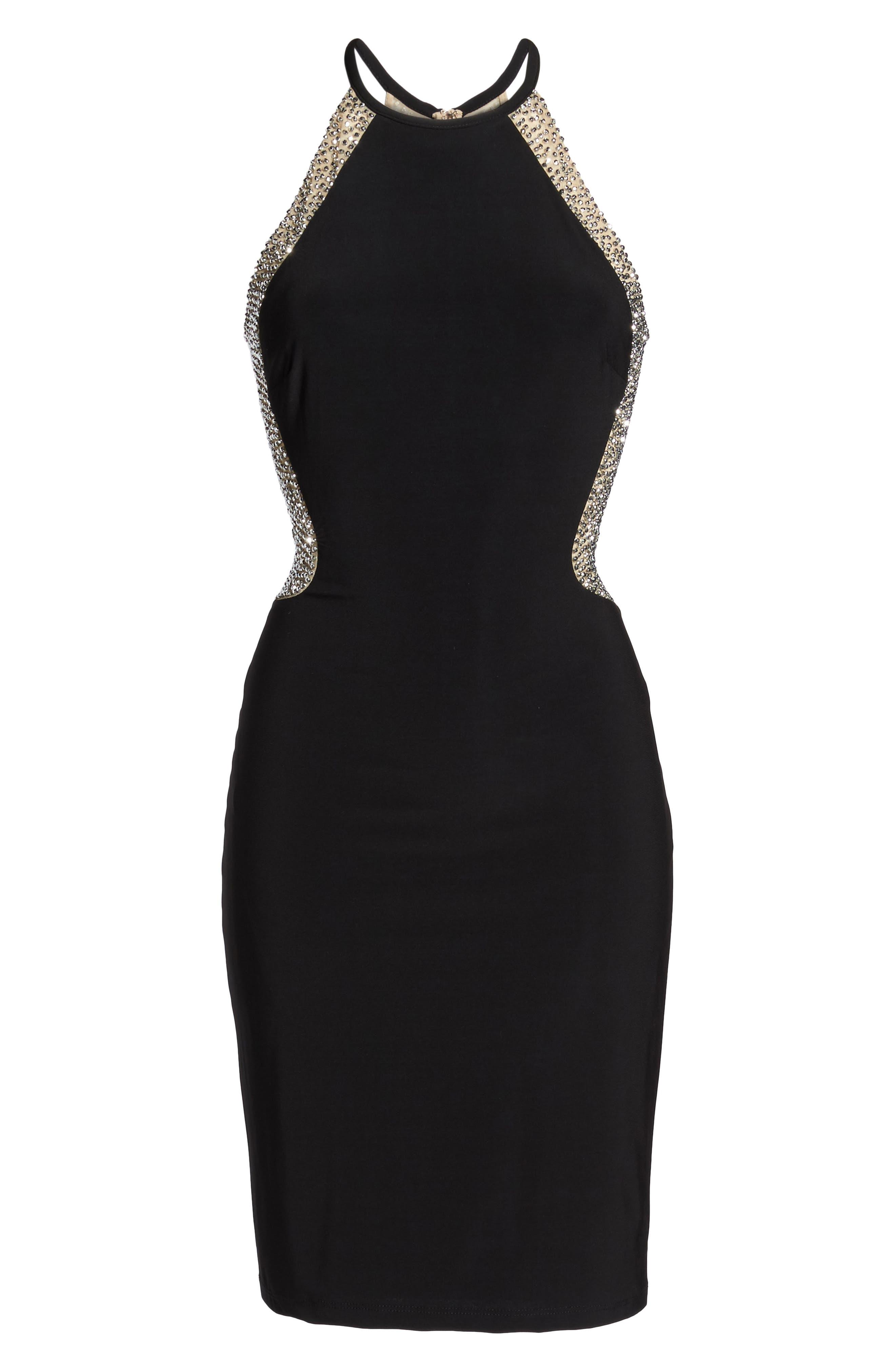 Beaded Mesh & Jersey Sheath Dress,                             Alternate thumbnail 6, color,                             009