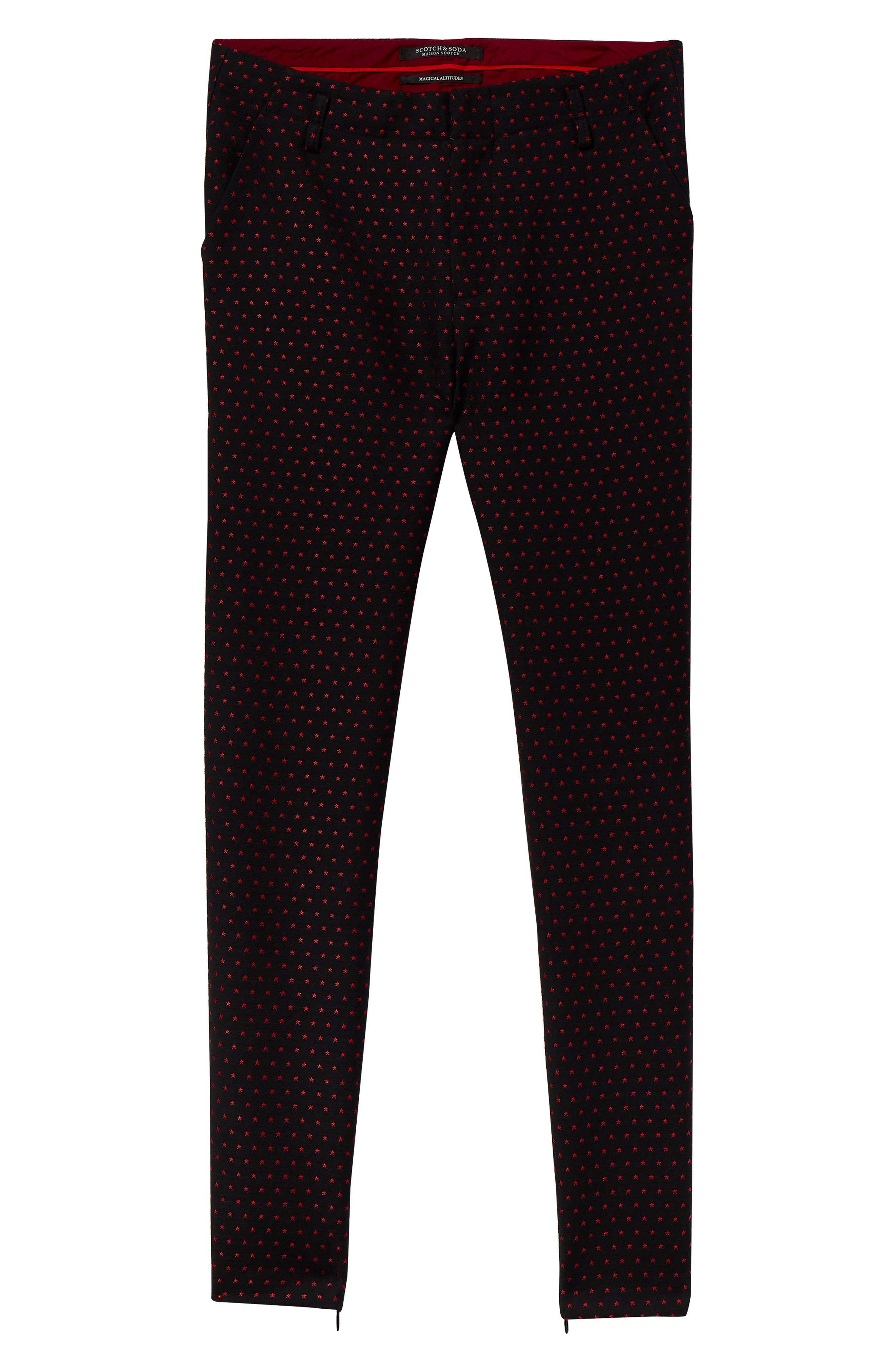 Starry Jacquard Tailored Stretch Pants,                             Alternate thumbnail 4, color,                             BLACK W/ SMALL STAR PRINT