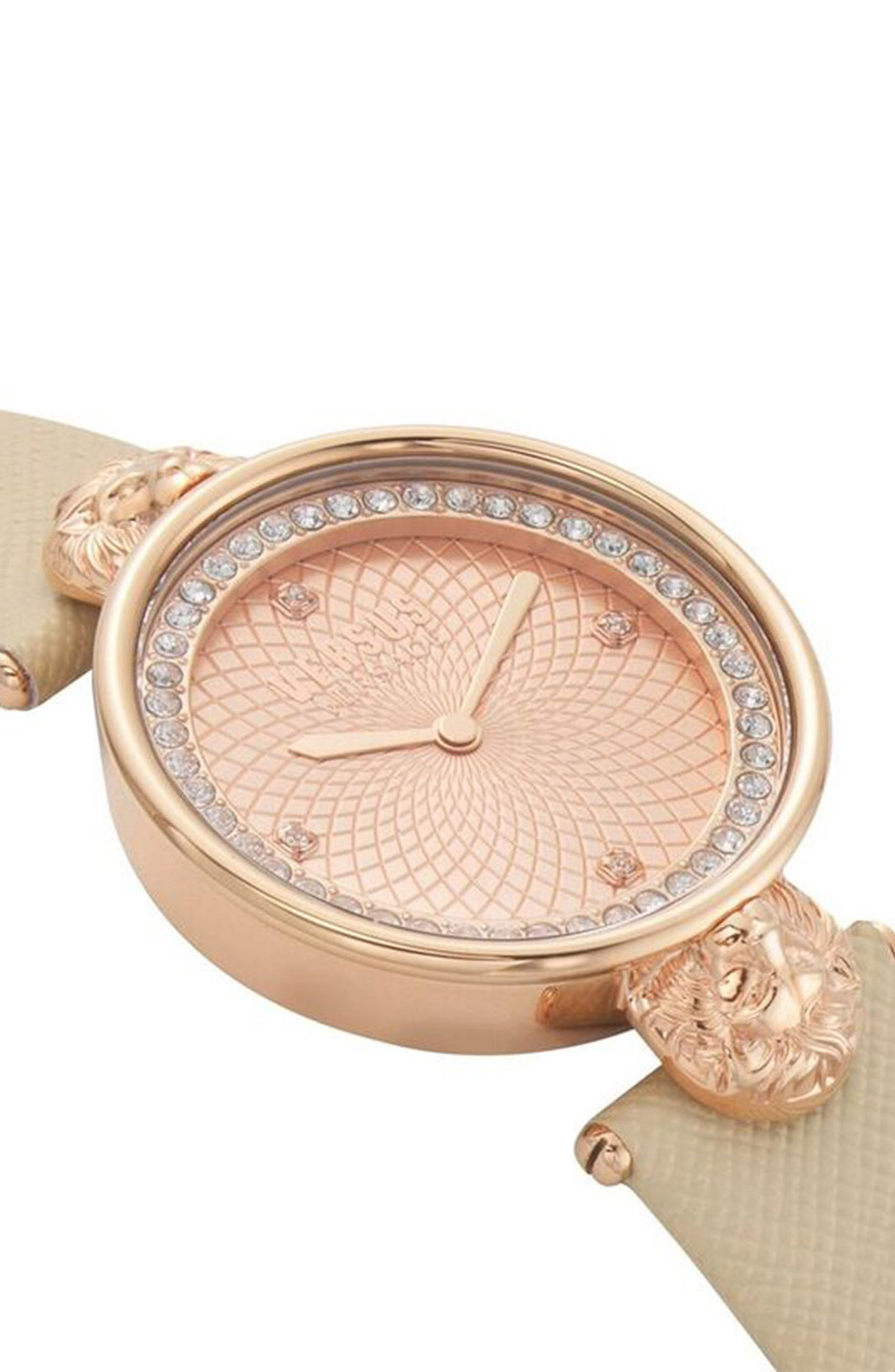 VERSUS Versace Victoria Leather Strap Watch, 34mm,                             Alternate thumbnail 3, color,                             BEIGE/ ROSE GOLD