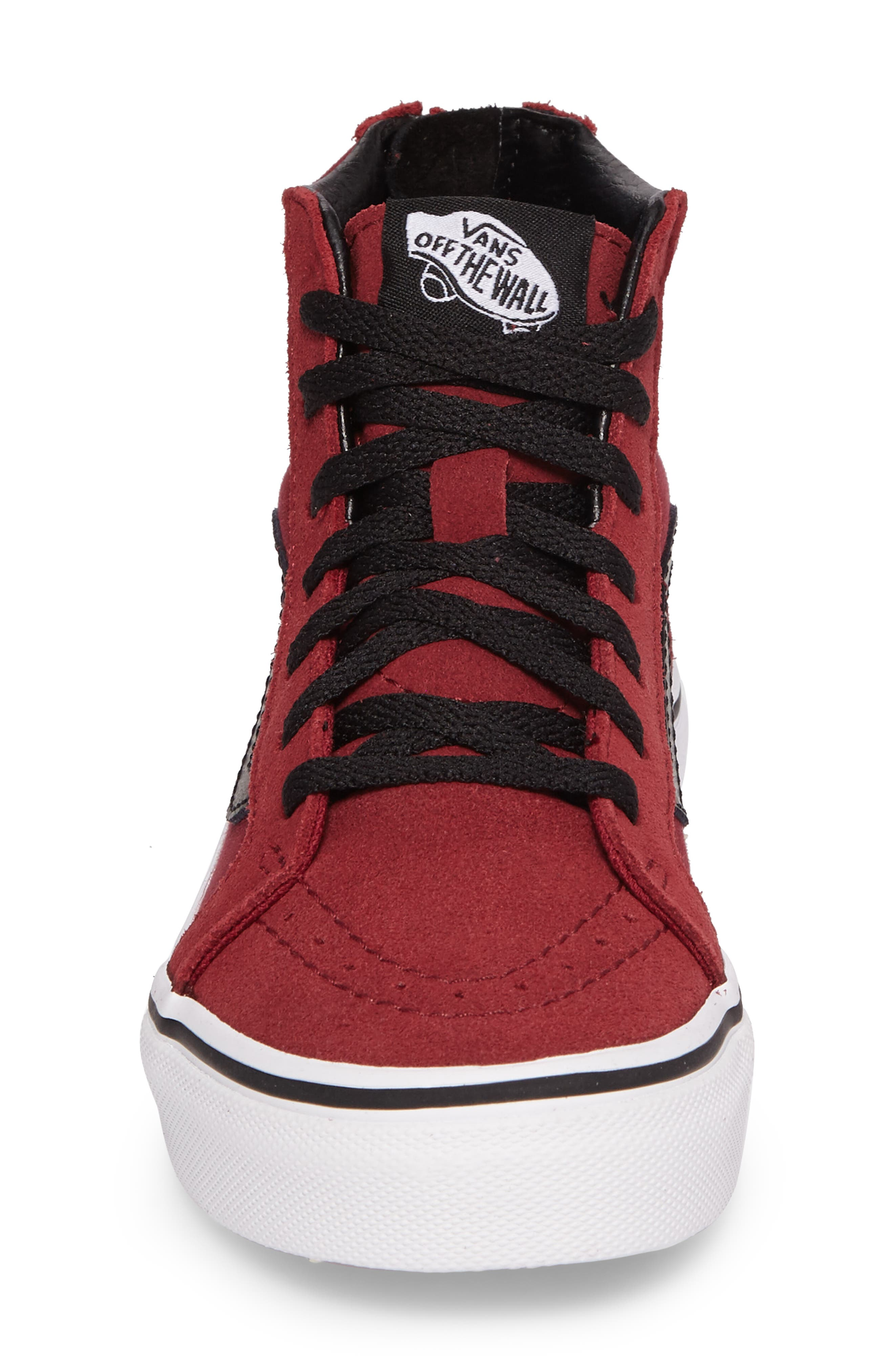 SK8-Hi Zip Sneaker,                             Alternate thumbnail 4, color,                             TIBETAN RED/ BLACK