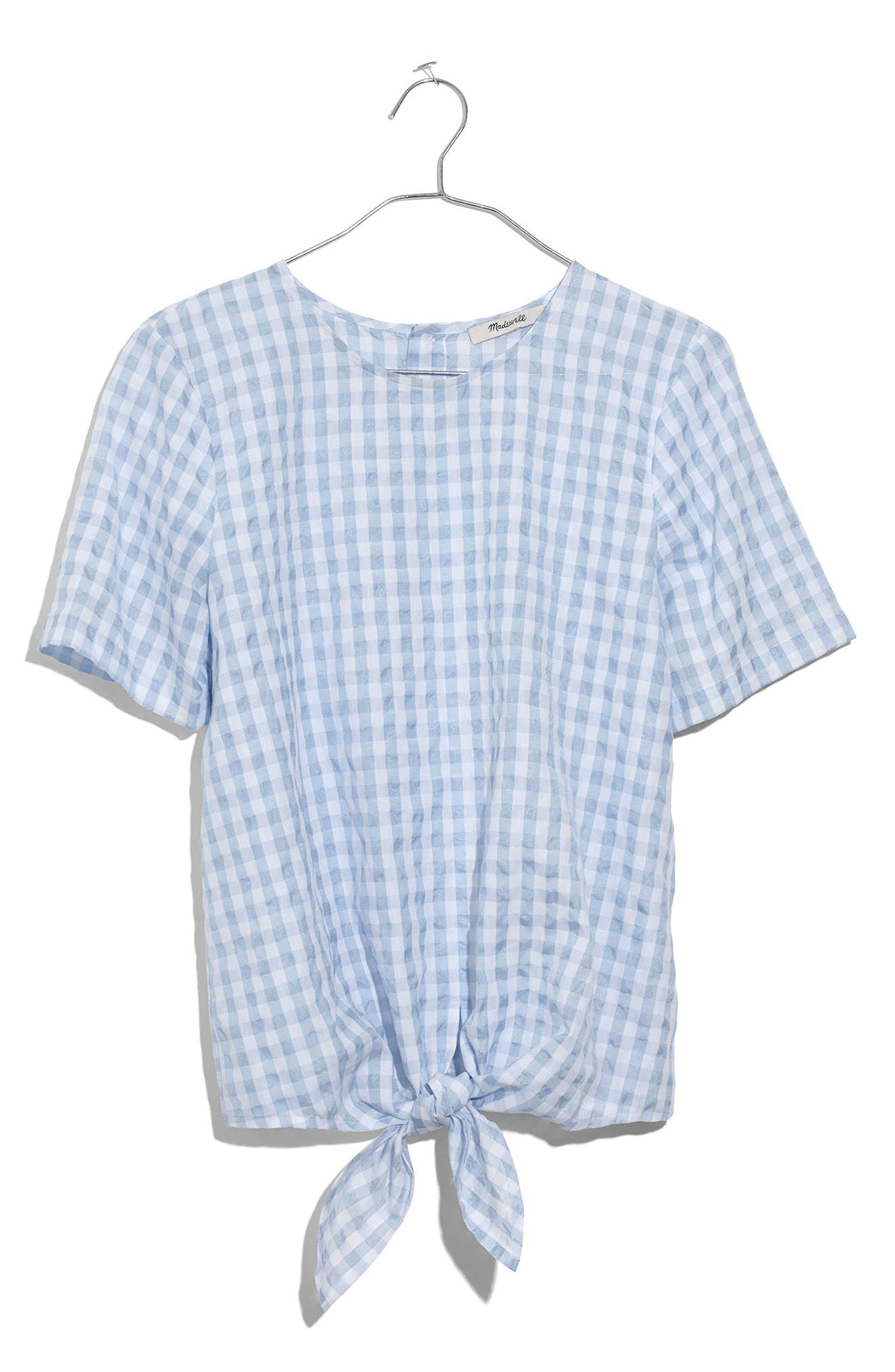 Button Back Tie Front Gingham Check Top,                             Alternate thumbnail 3, color,                             400