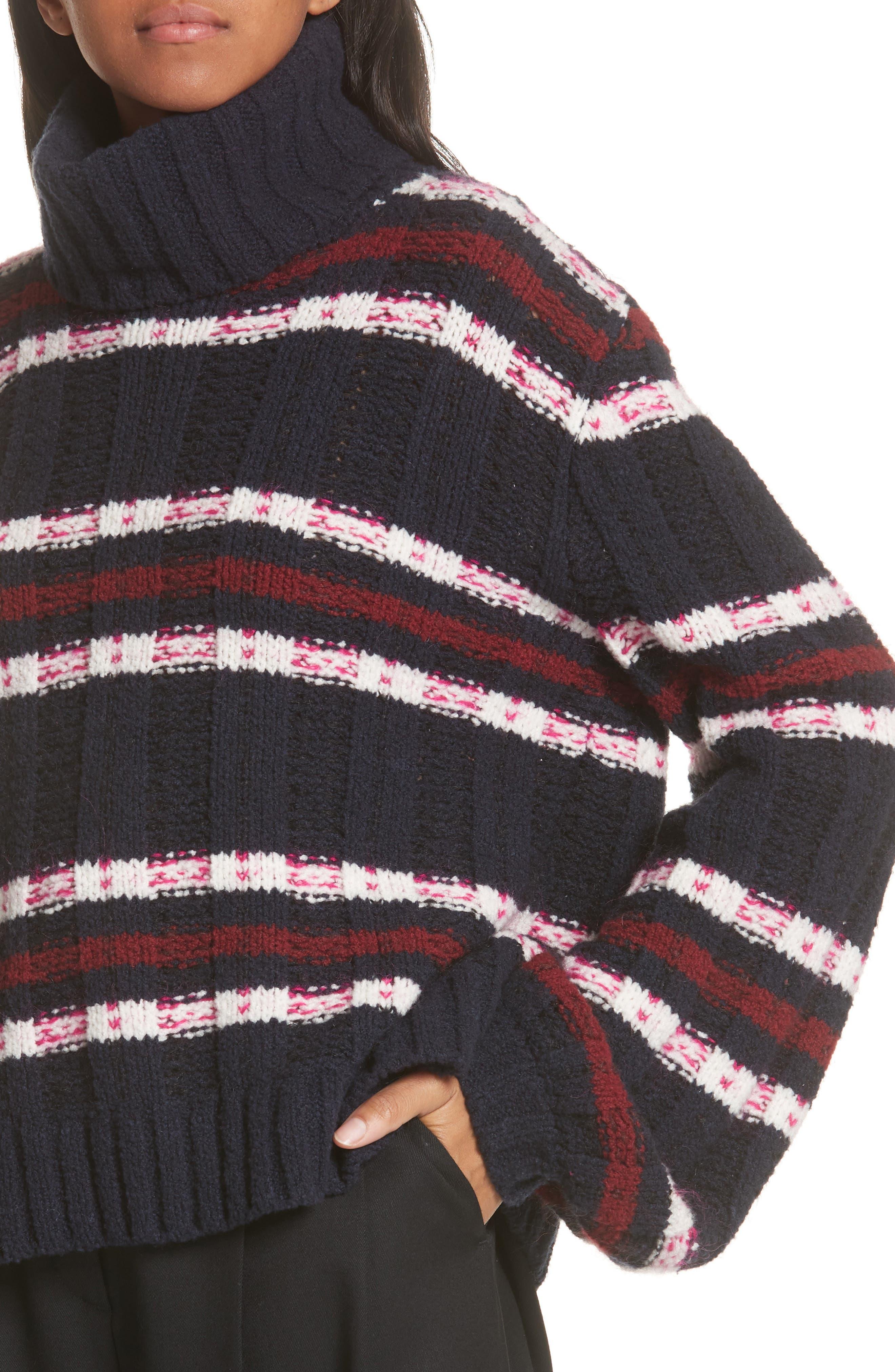 Zaira Stripe Turtleneck Sweater,                             Alternate thumbnail 4, color,                             001
