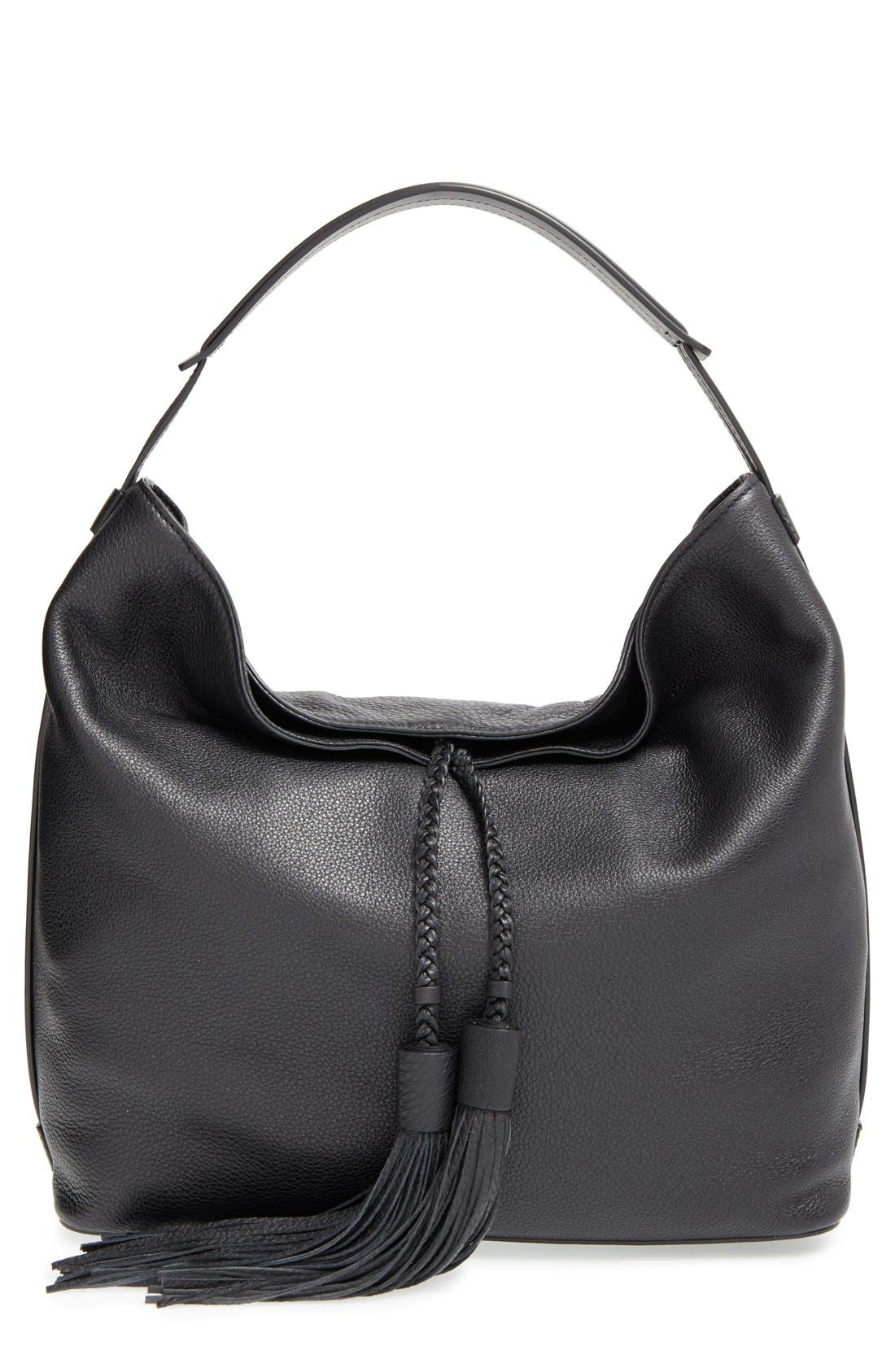 'Isobel' Tassel Leather Hobo,                             Main thumbnail 1, color,                             001