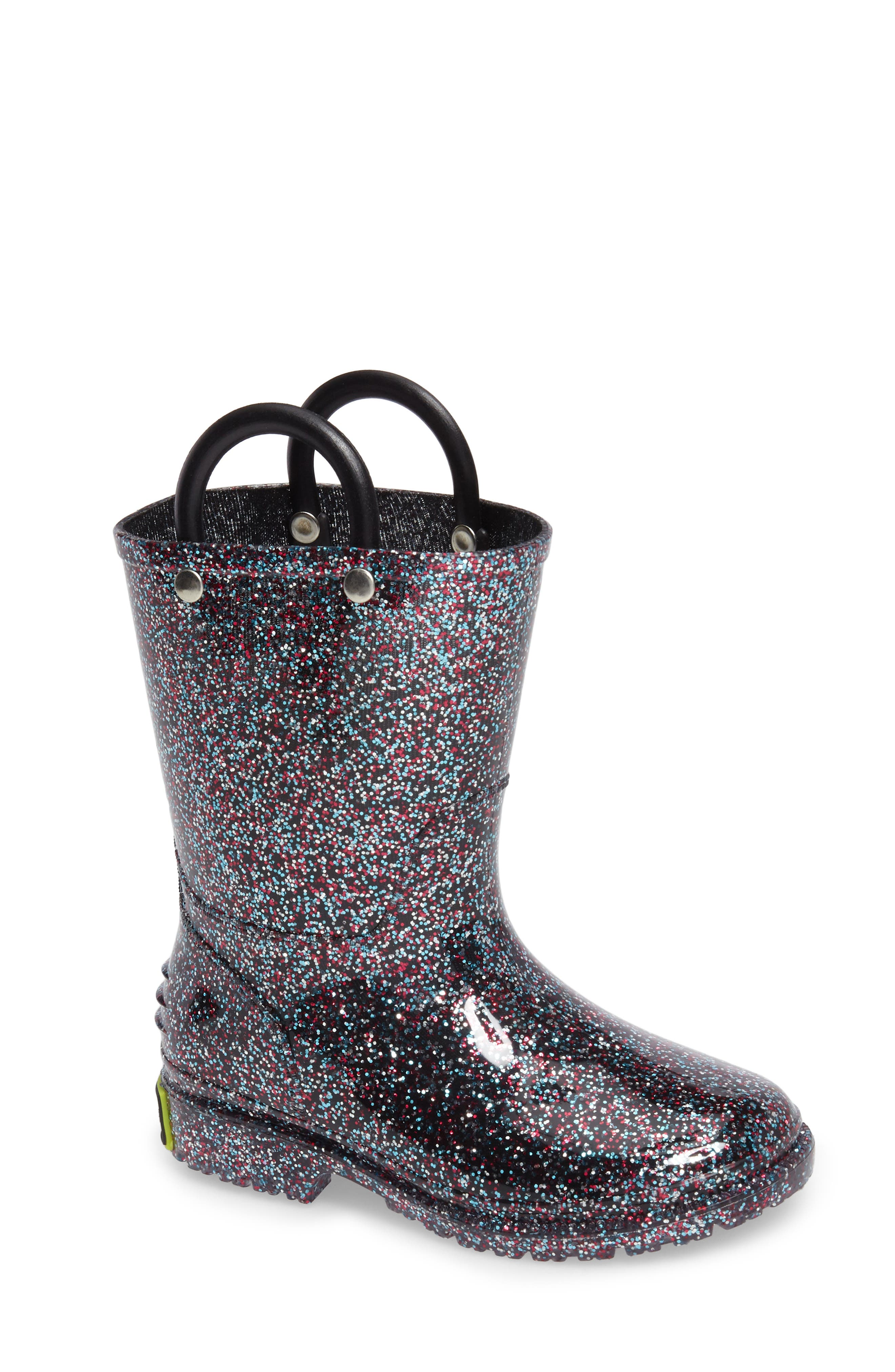 WESTERN CHIEF,                             Glitter Waterproof Rain Boot,                             Main thumbnail 1, color,                             MULTI