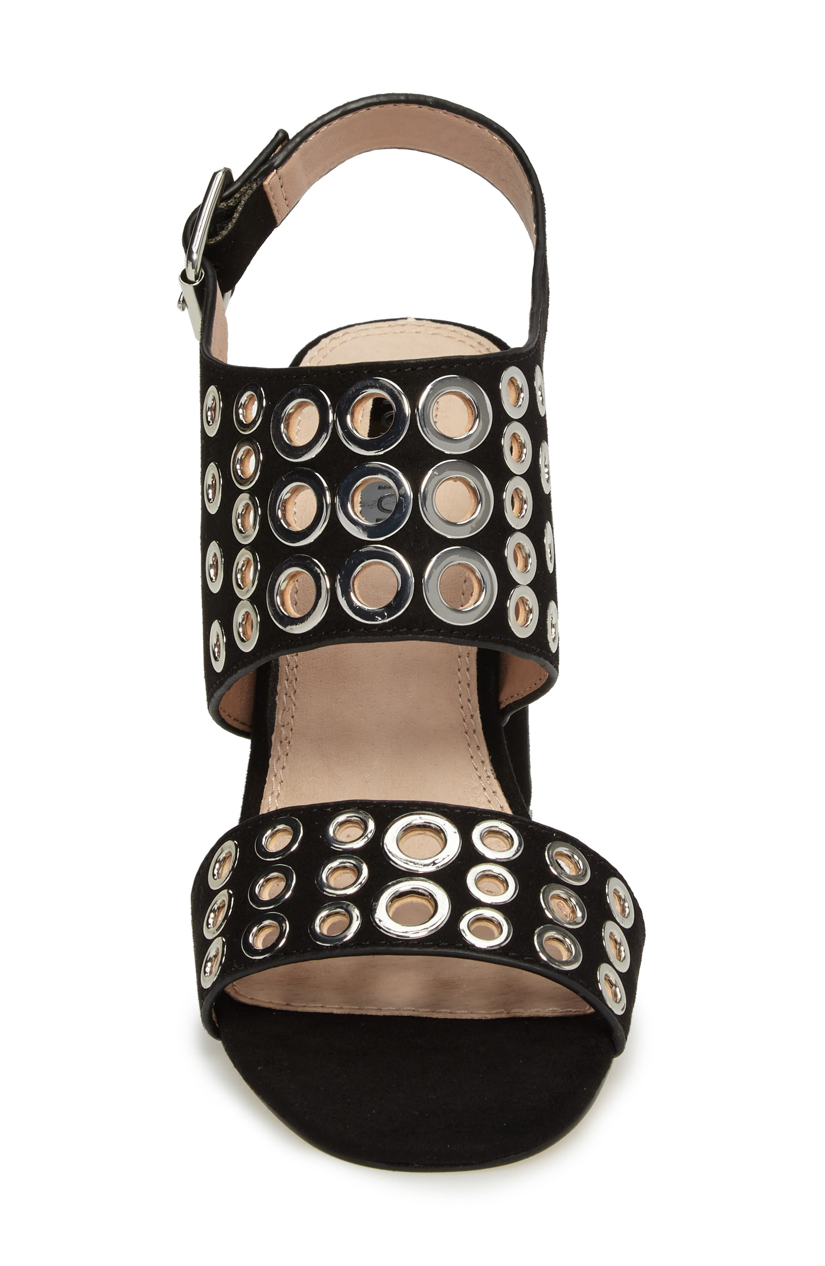 Nadia Rivet Block Heel Sandal,                             Alternate thumbnail 4, color,                             001