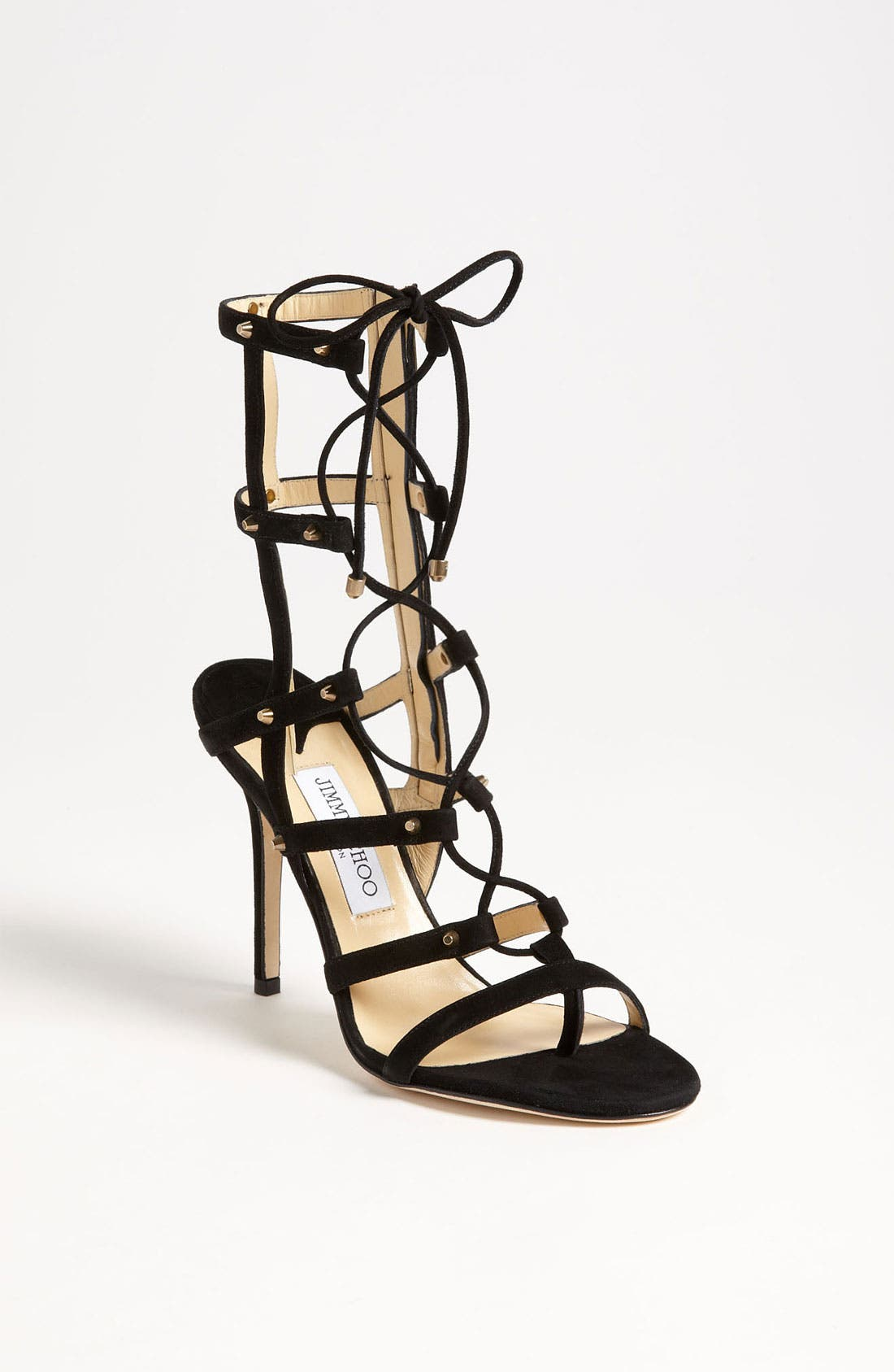 JIMMY CHOO,                             'Meddle' Caged Sandal,                             Main thumbnail 1, color,                             001