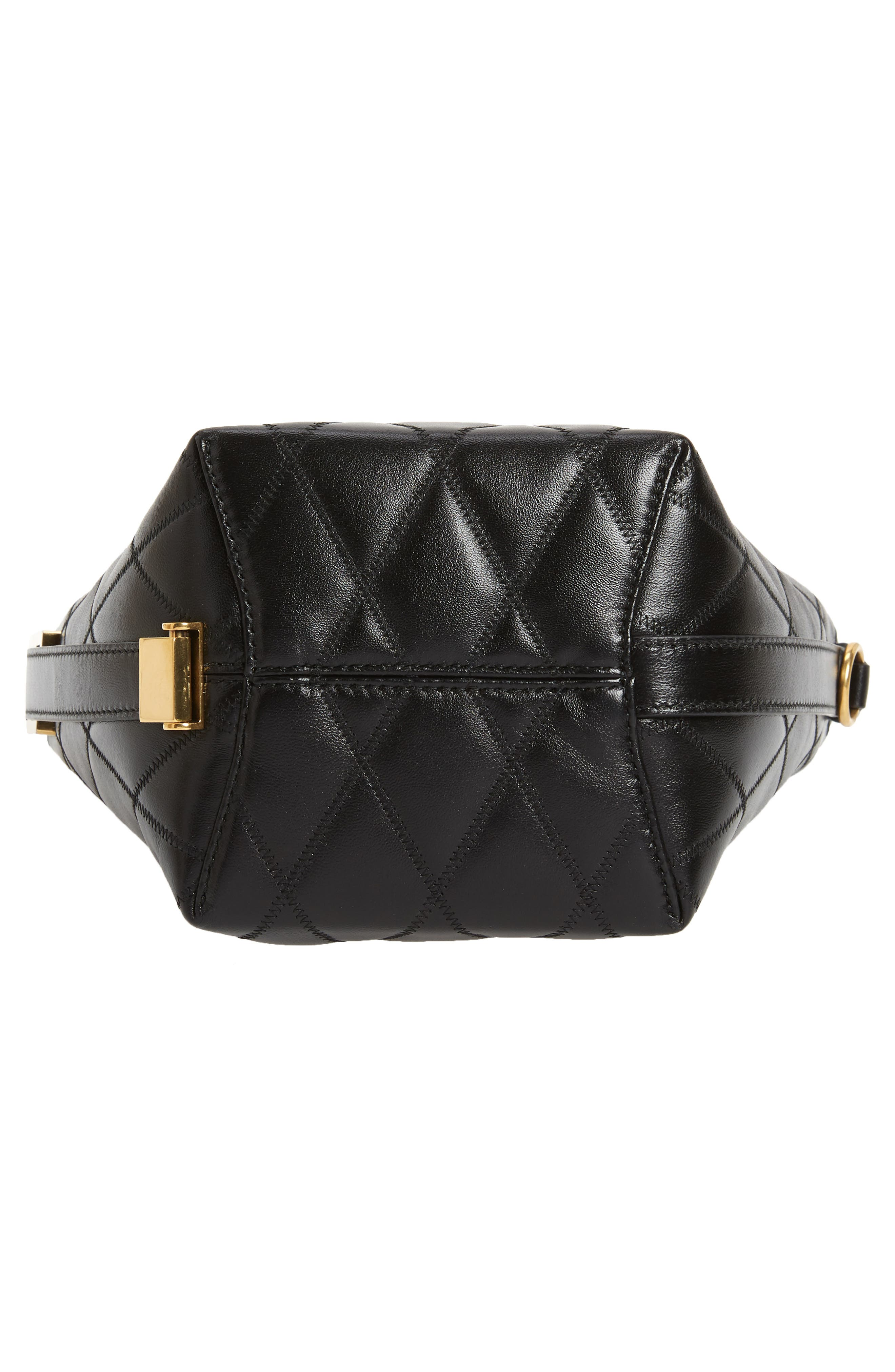 GIVENCHY,                             Mini GV Quilted Lambskin Leather Bucket Bag,                             Alternate thumbnail 7, color,                             BLACK