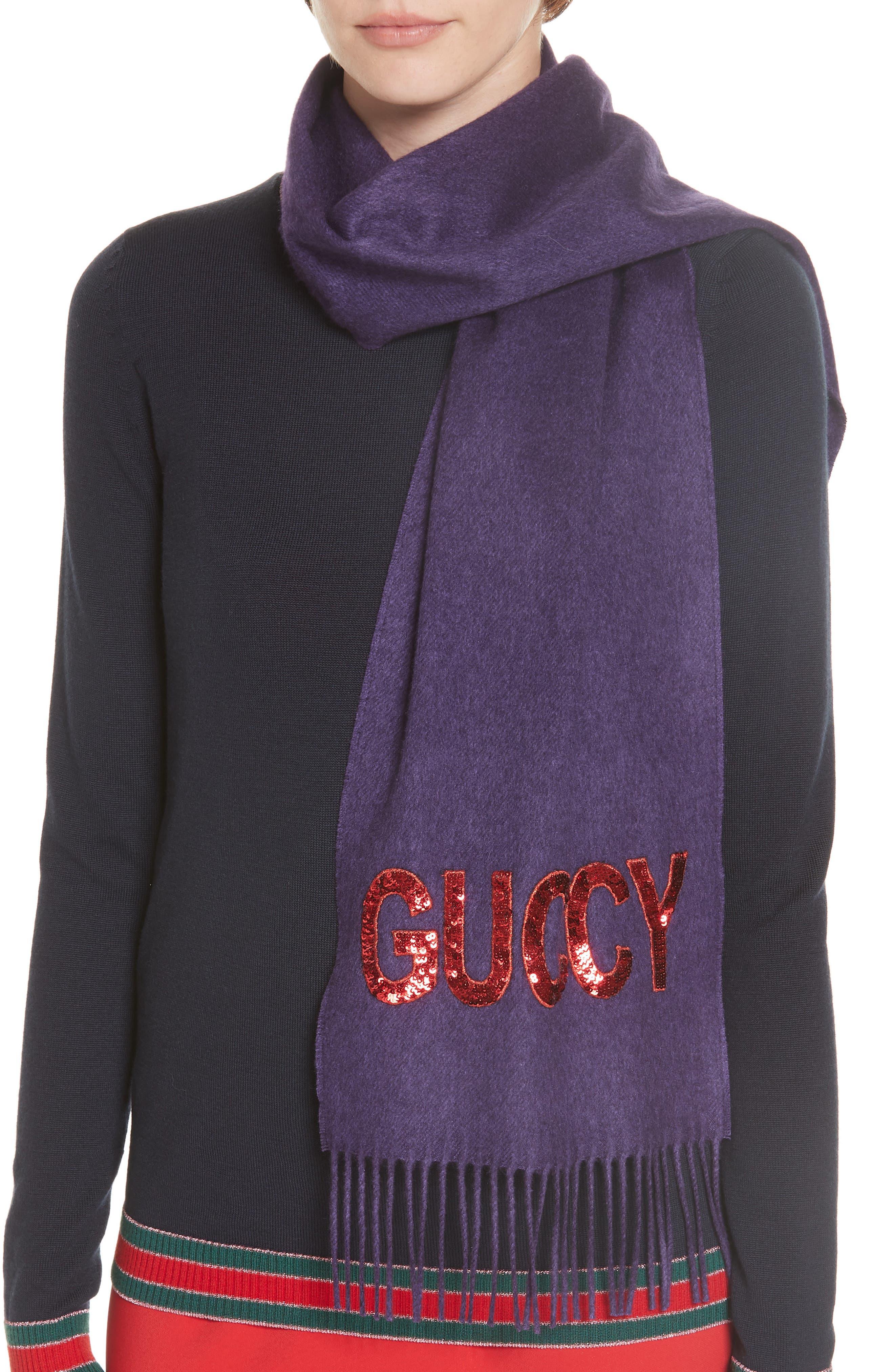 Guccy Sequin Silk & Cashmere Scarf,                             Alternate thumbnail 2, color,                             PARMA VIOLET