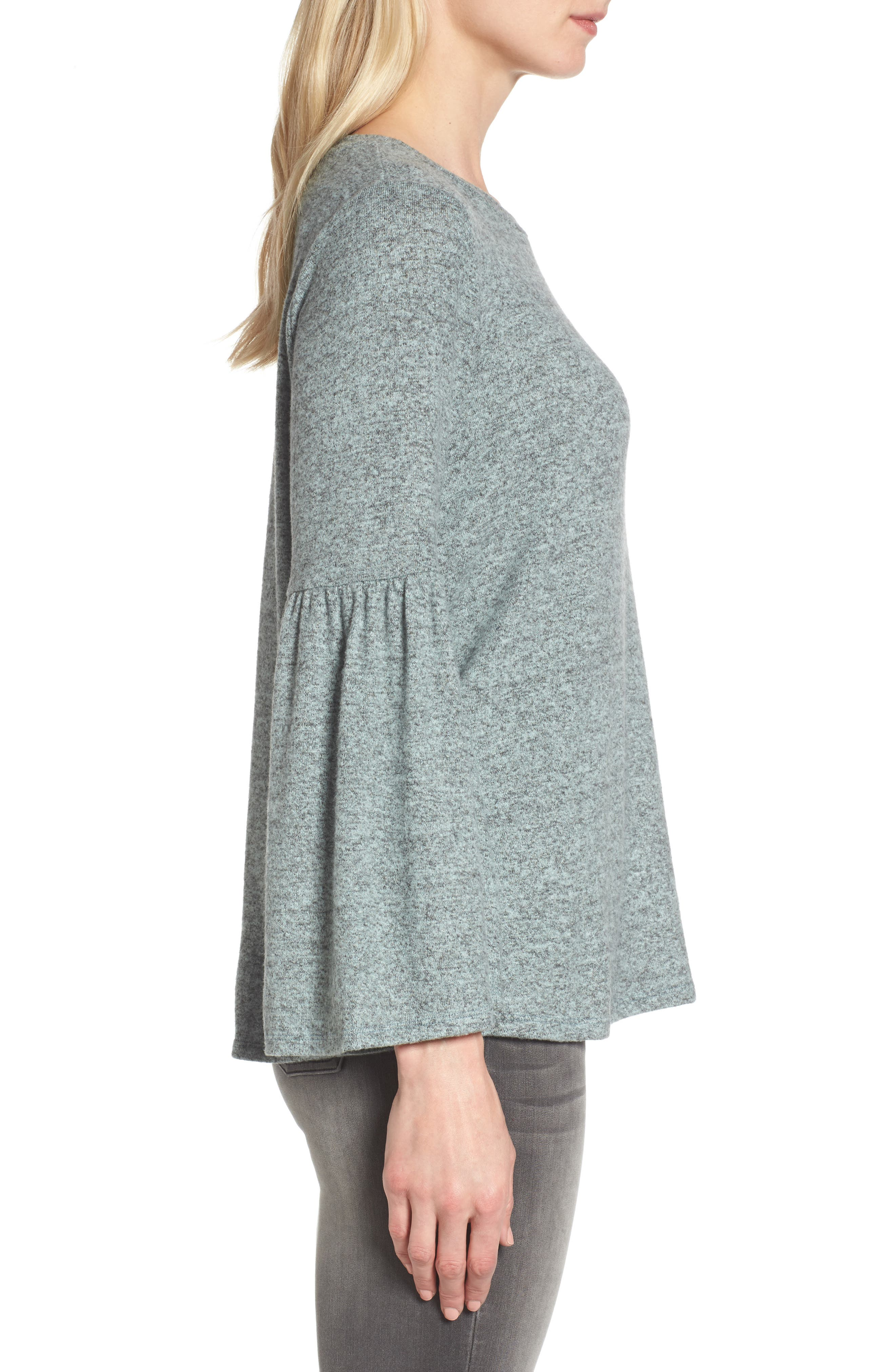 Bell Sleeve Cozy Fleece Pullover,                             Alternate thumbnail 26, color,