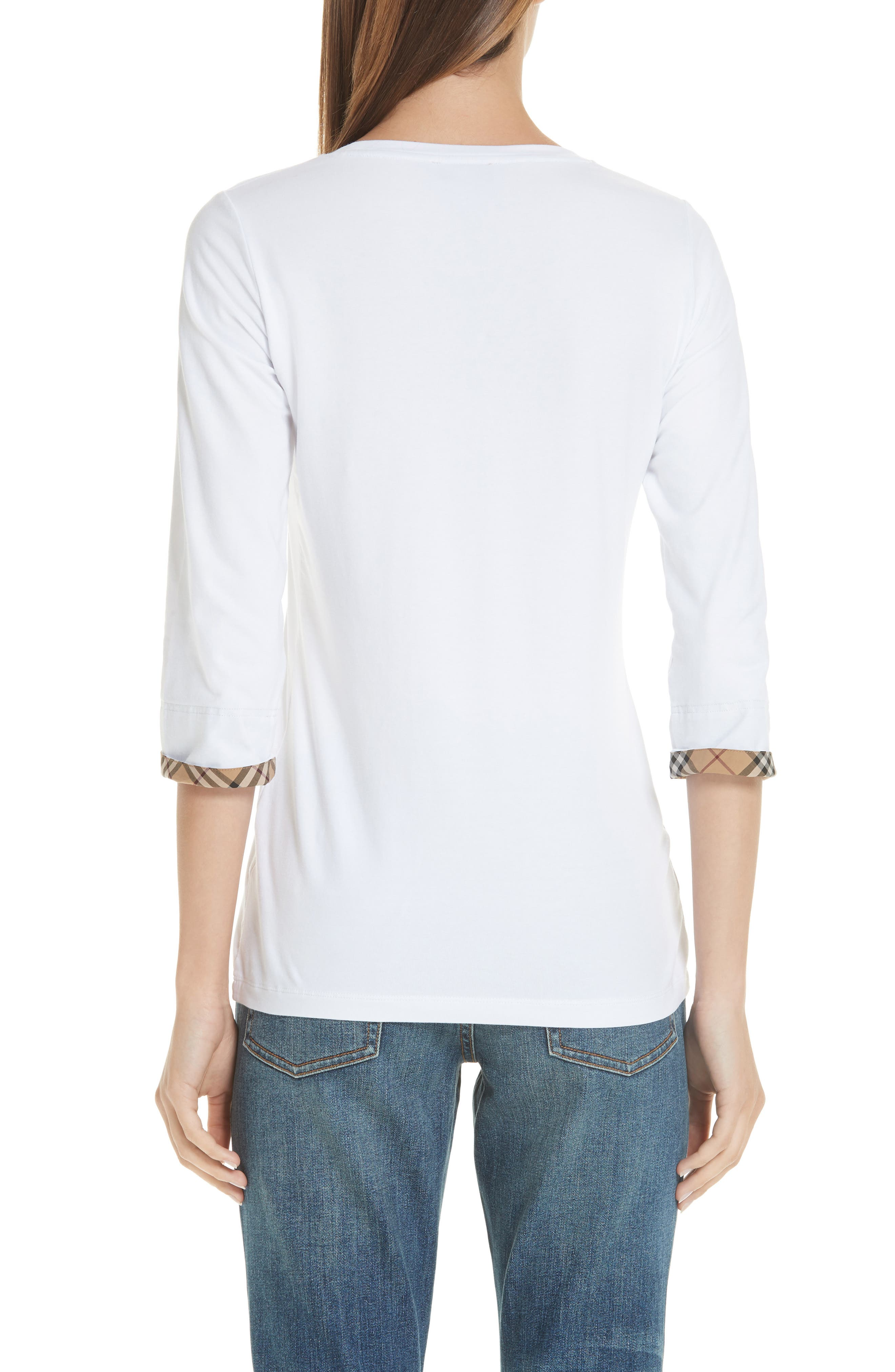 Lohit Check Cuff Stretch Cotton Tee,                             Alternate thumbnail 2, color,                             100