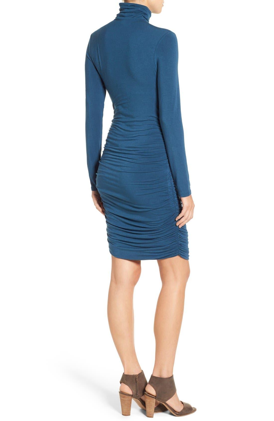 Side Ruched Turtleneck Dress,                             Alternate thumbnail 5, color,                             401
