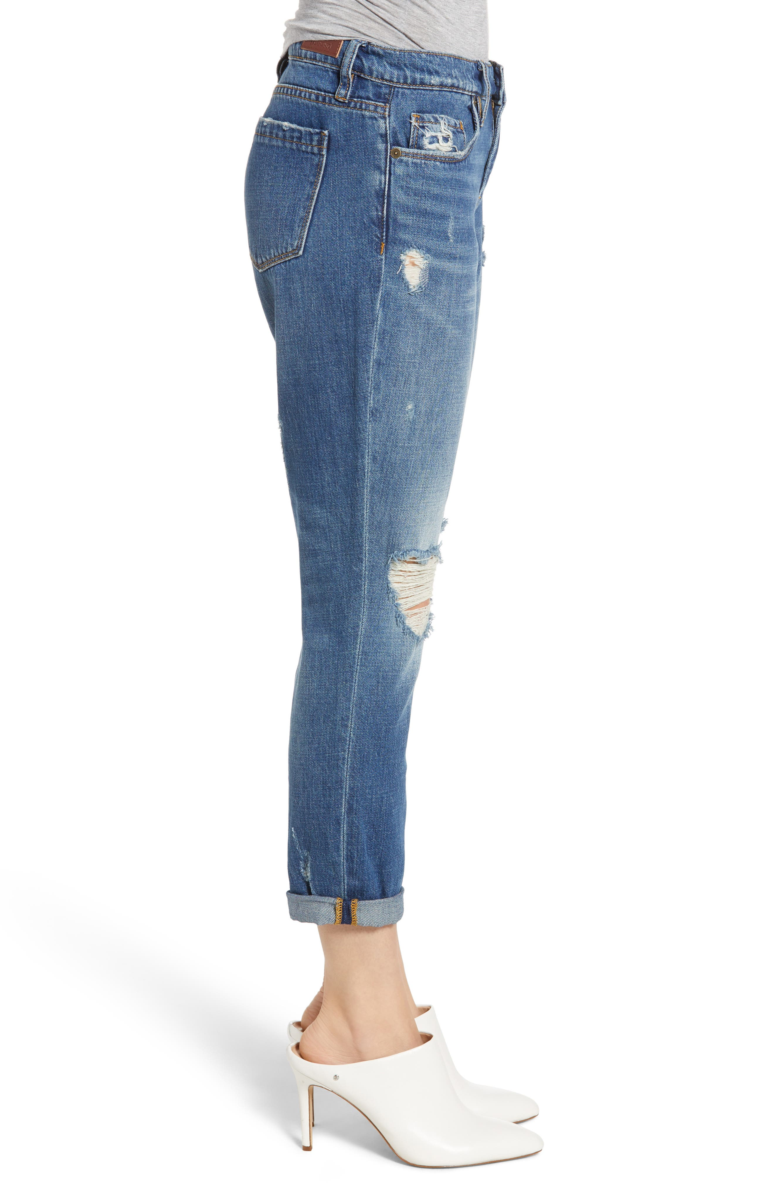 Ludlow Ripped Crop Girlfriend Jeans,                             Alternate thumbnail 3, color,                             420