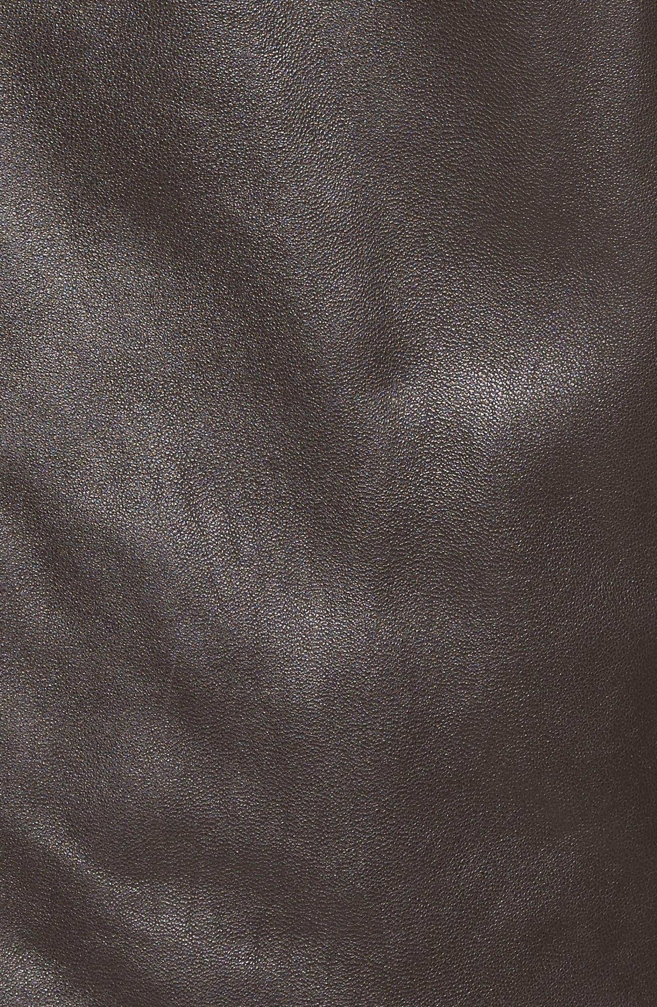 Lambskin Leather Jacket with Genuine Rabbit Fur Trim,                             Alternate thumbnail 10, color,
