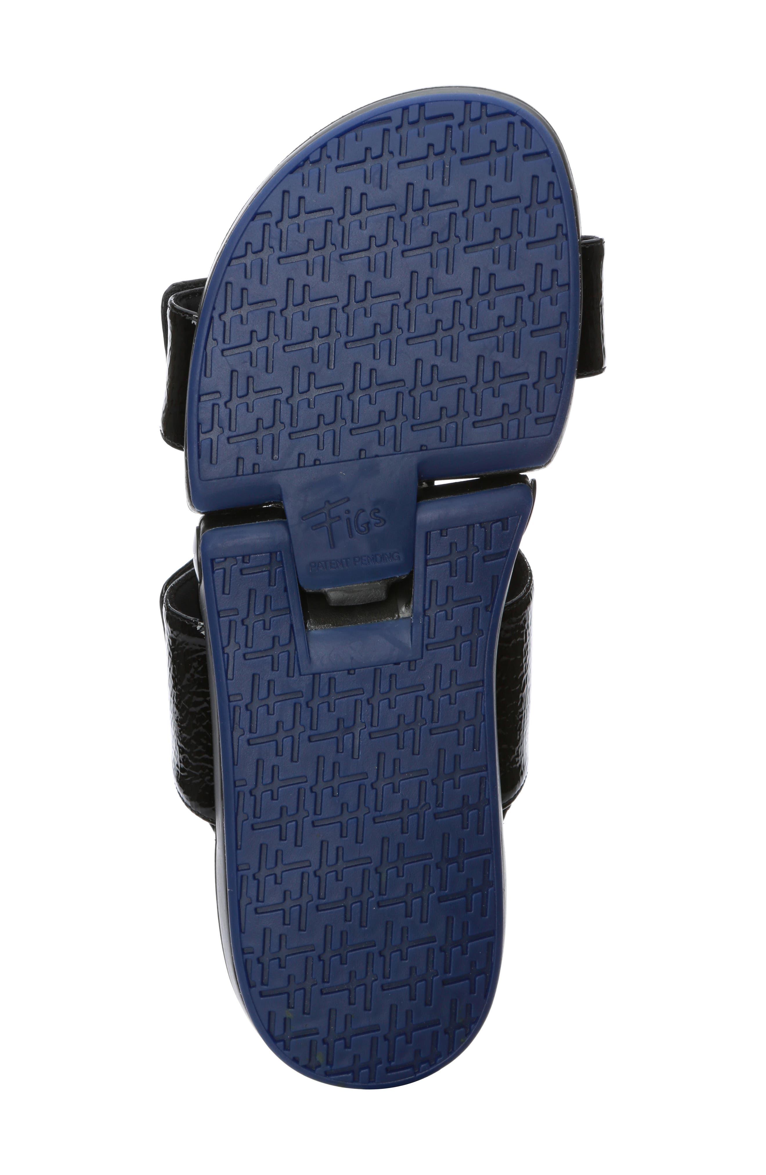 Figulous Sandal,                             Alternate thumbnail 6, color,                             BLACK CRINKLE PATENT LEATHER