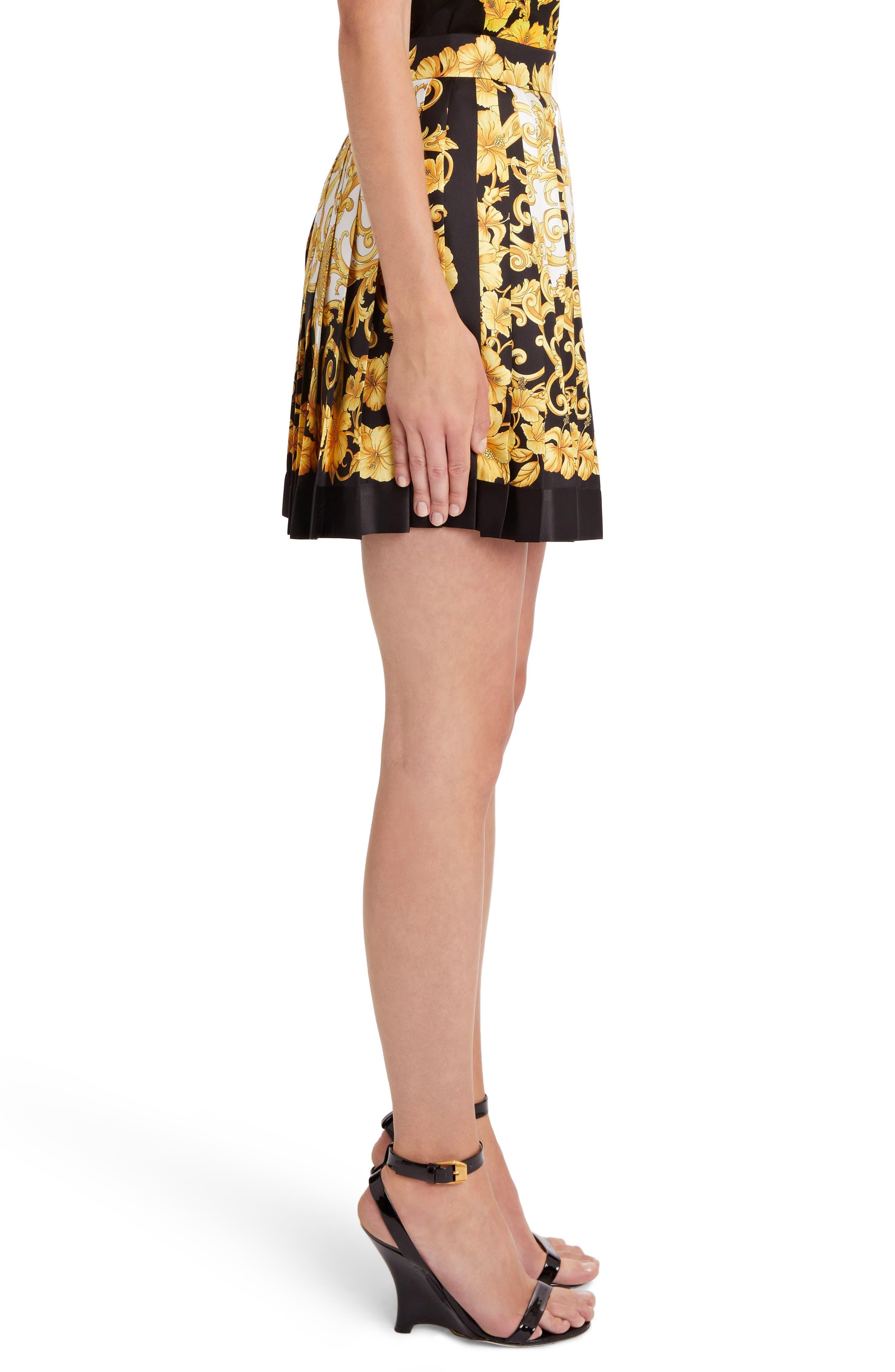 Hibiscus Print Pleated Silk Skirt,                             Alternate thumbnail 3, color,                             BLACK PRINT