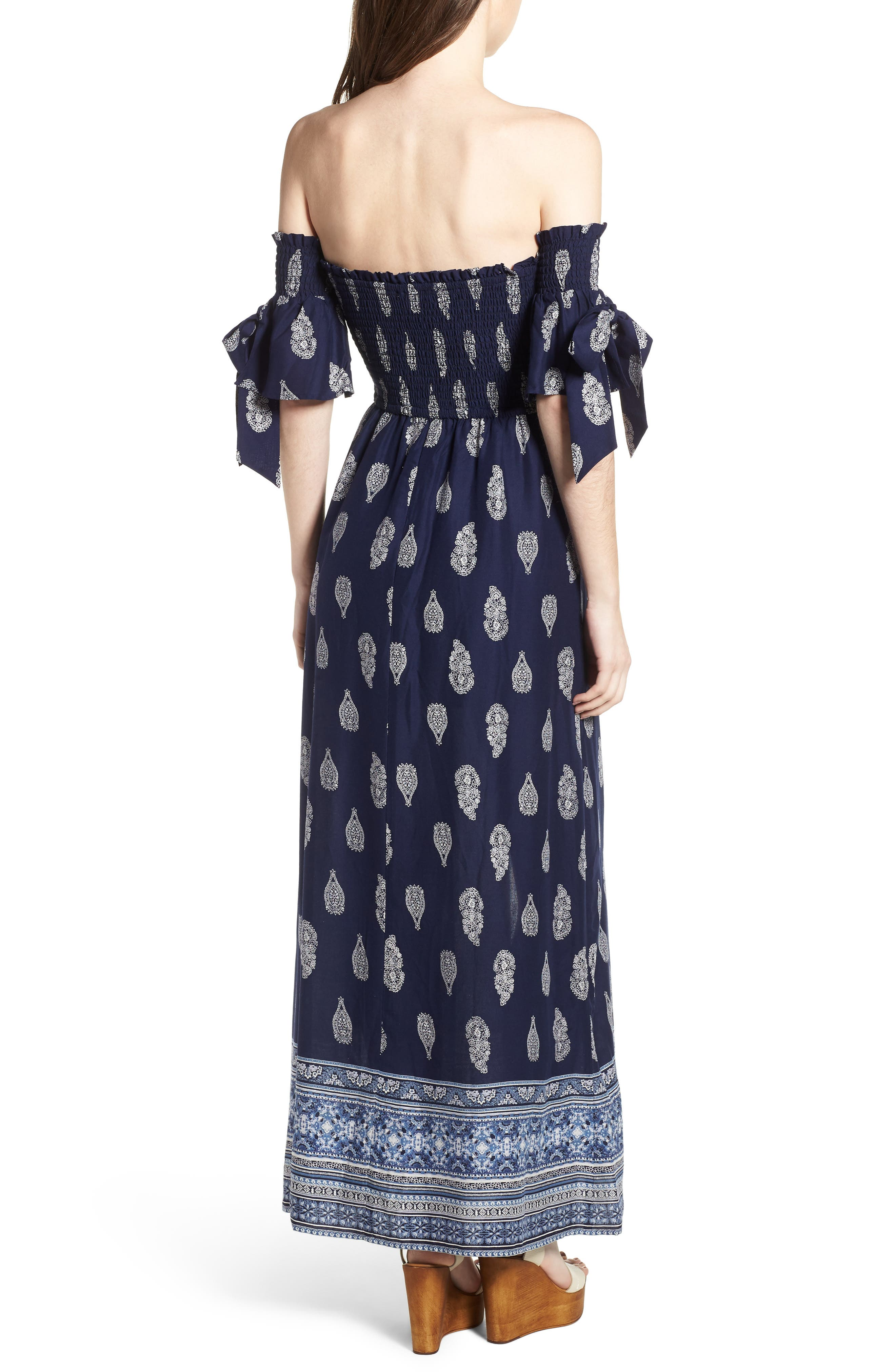 BAND OF GYPSIES,                             Summer Bloom Smocked Maxi Romper,                             Alternate thumbnail 2, color,                             400