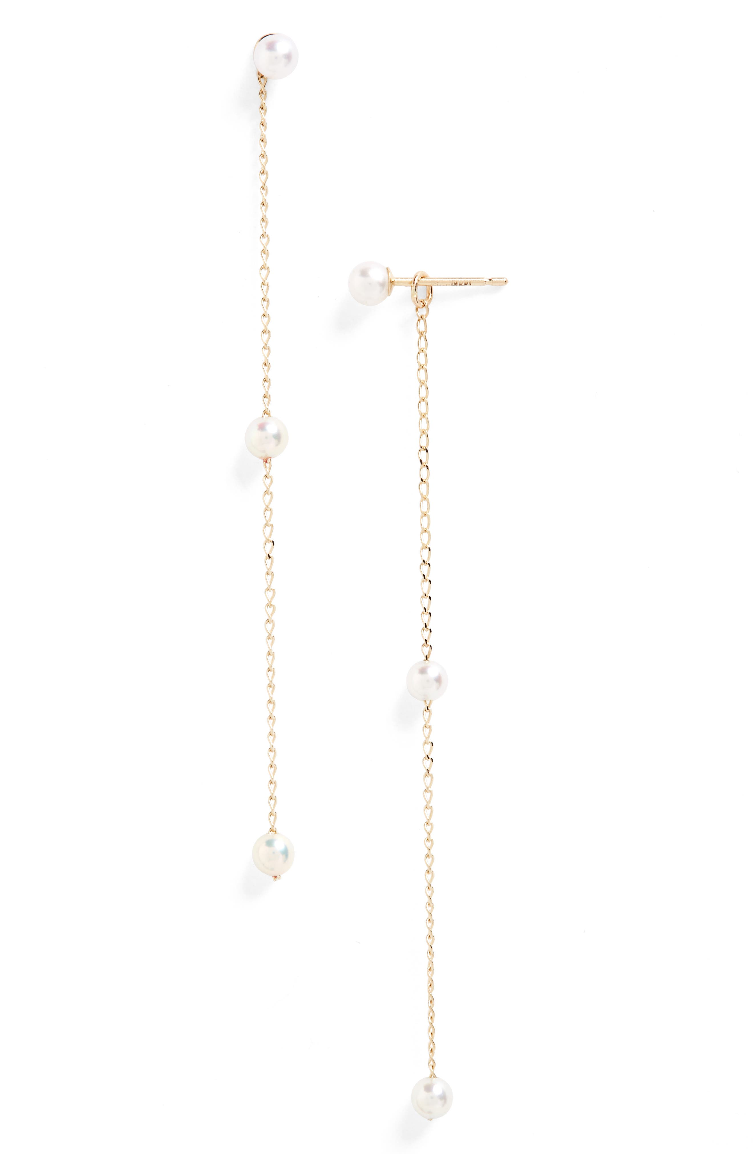Sea of Beauty Pearl Convertible Drop Earrings,                             Main thumbnail 1, color,                             YELLOW GOLD/ WHITE PEARL