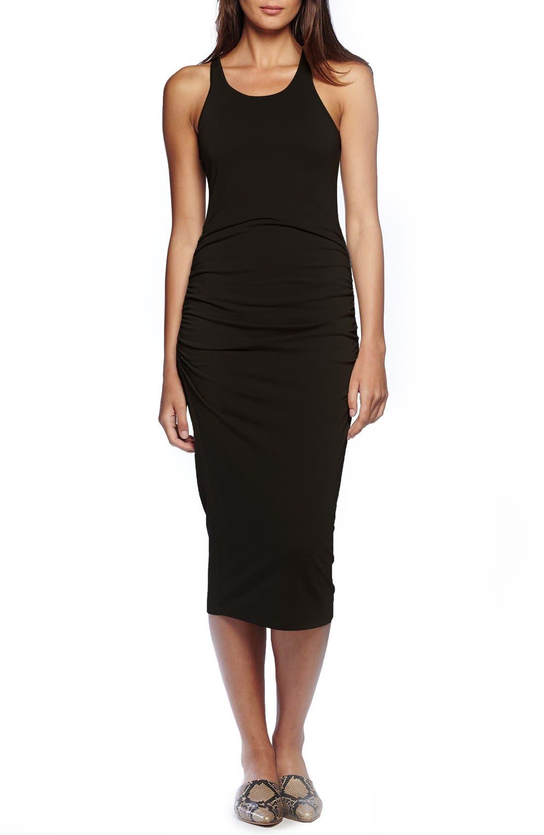MICHAEL STARS Racerback Midi Dress, Main, color, BLACK
