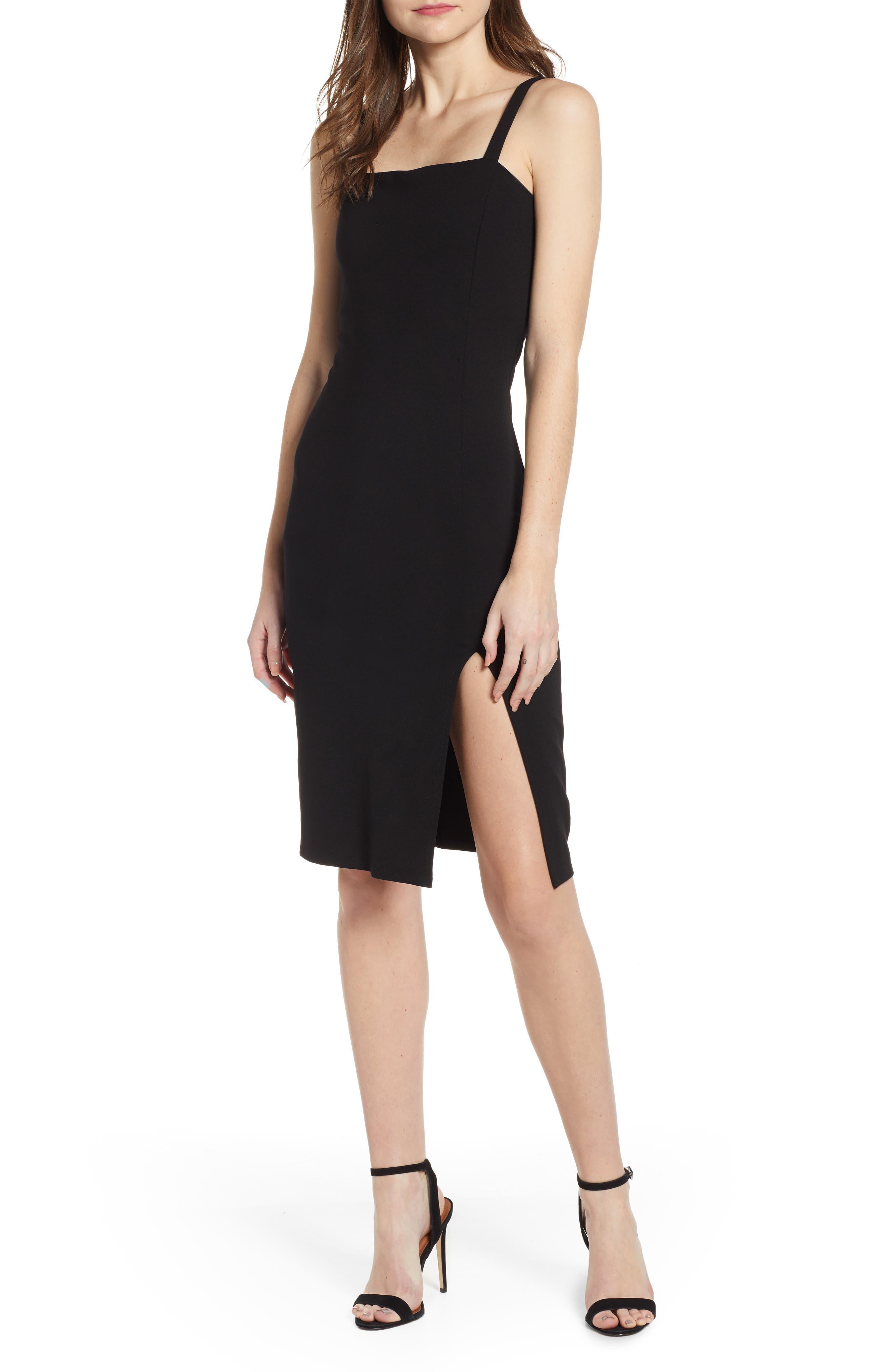 Leith Square Neck Sheath Dress, Black