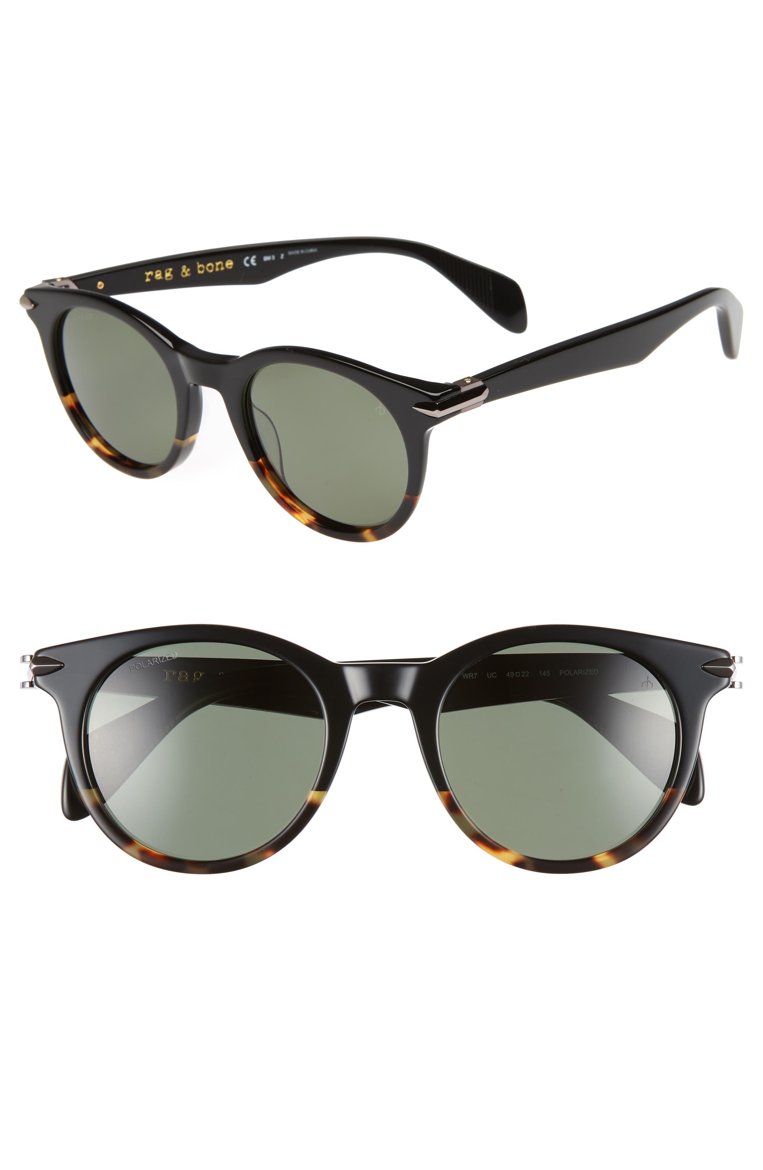 49mm Polarized Round Sunglasses,                         Main,                         color, BLACK HAVANA