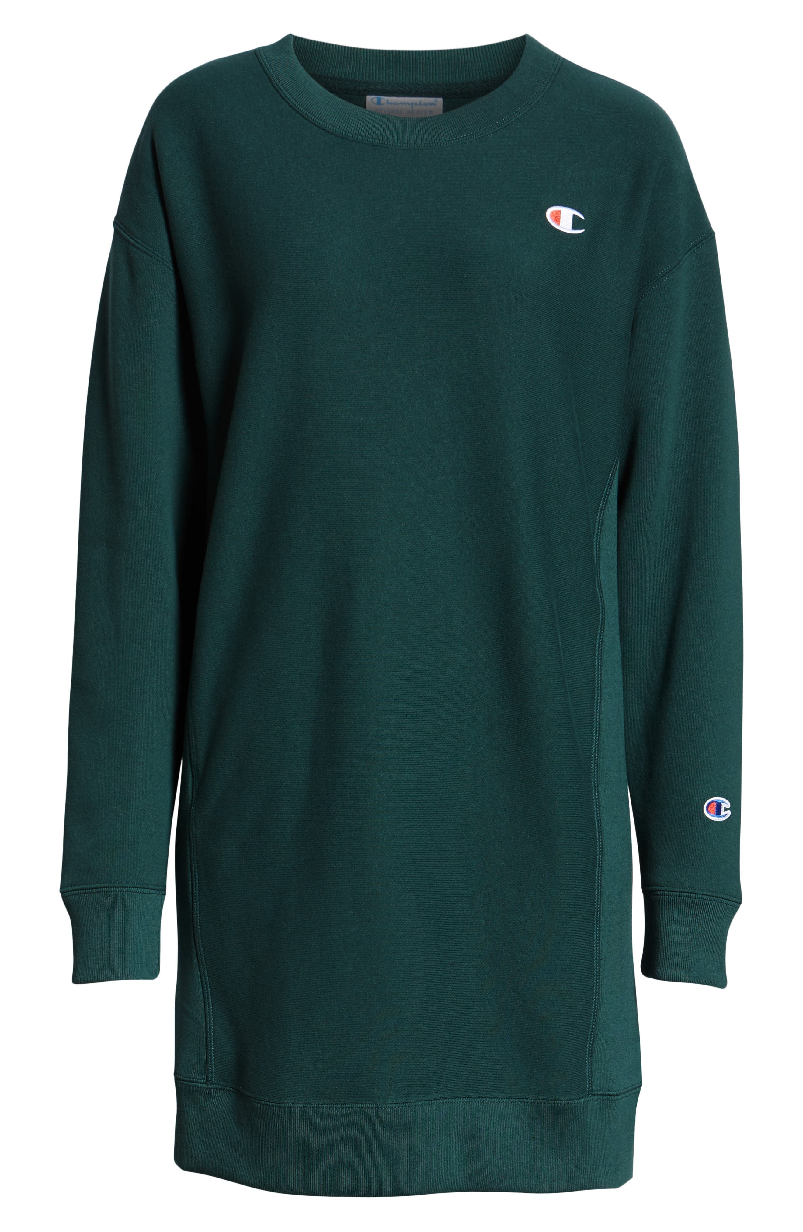 Reverse Weave<sup>®</sup> Sweatshirt Dress,                             Alternate thumbnail 4, color,                             LAKESIDE GREEN