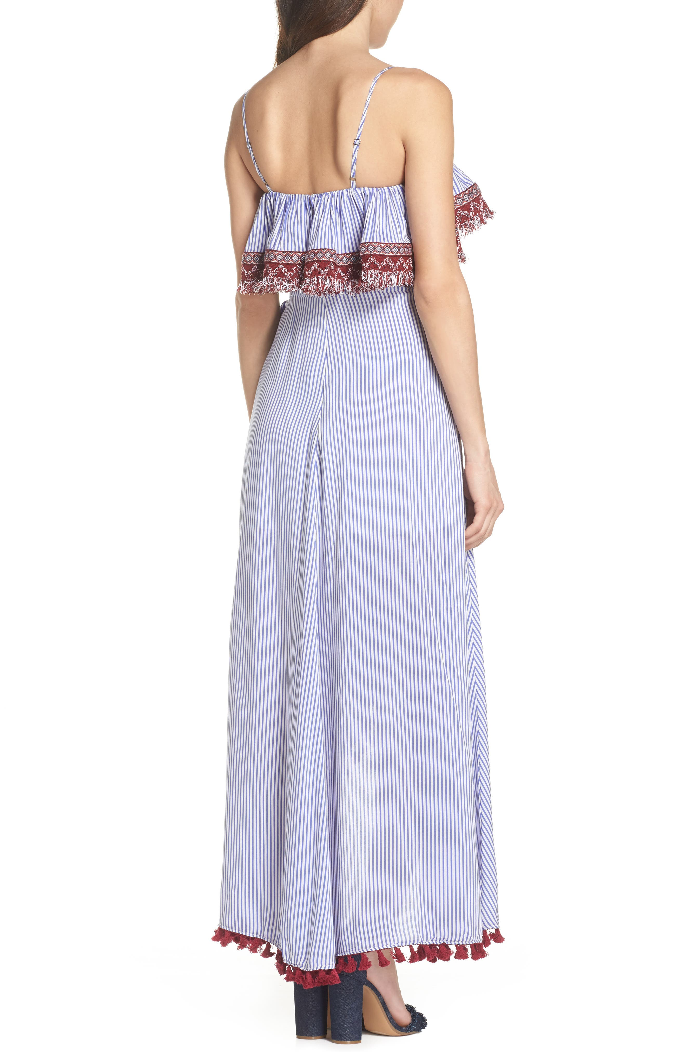 Stripe Ruffle Maxi Dress,                             Alternate thumbnail 2, color,