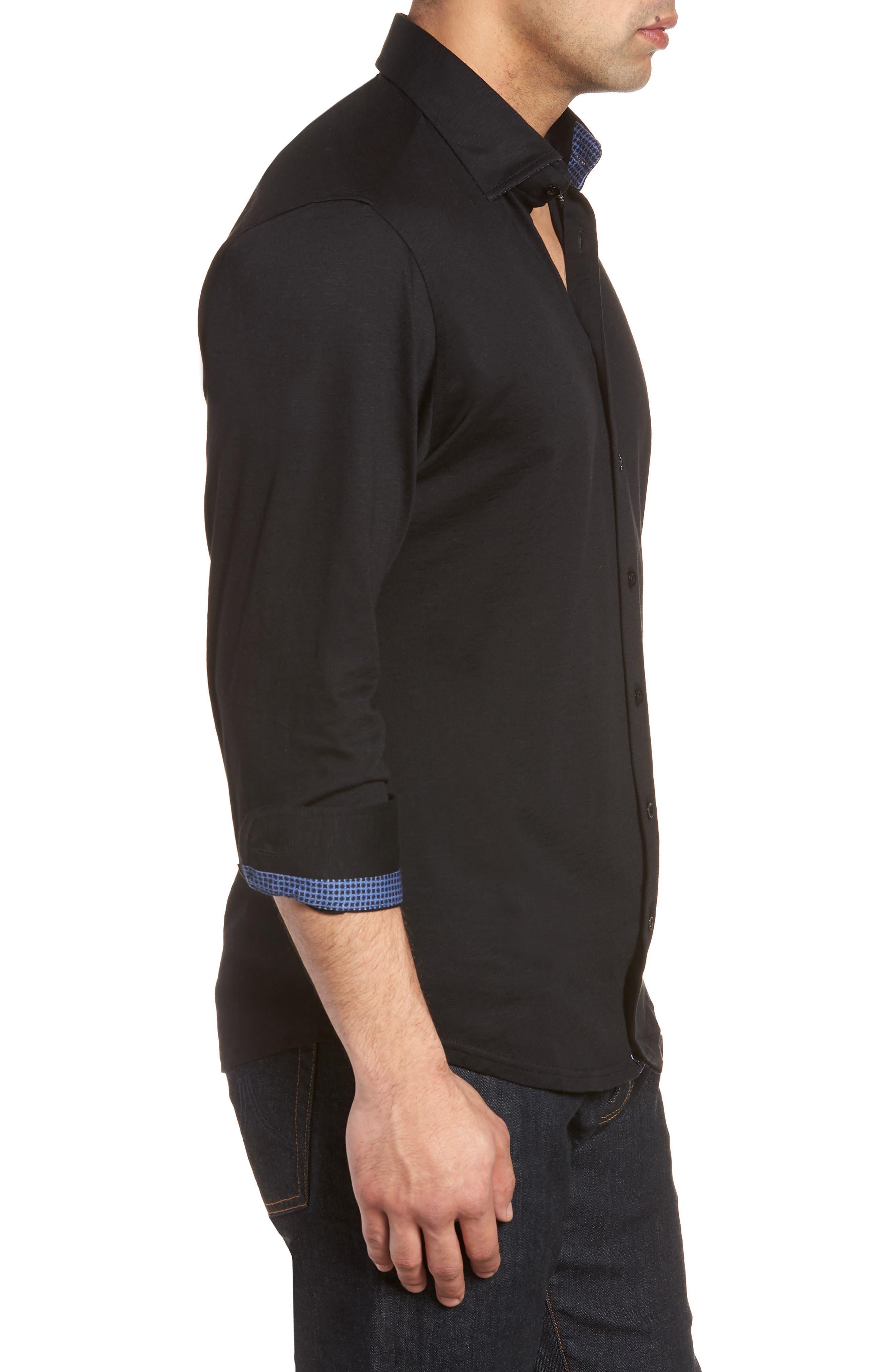Flame Contemporary Fit Sport Shirt,                             Alternate thumbnail 3, color,                             BLACK