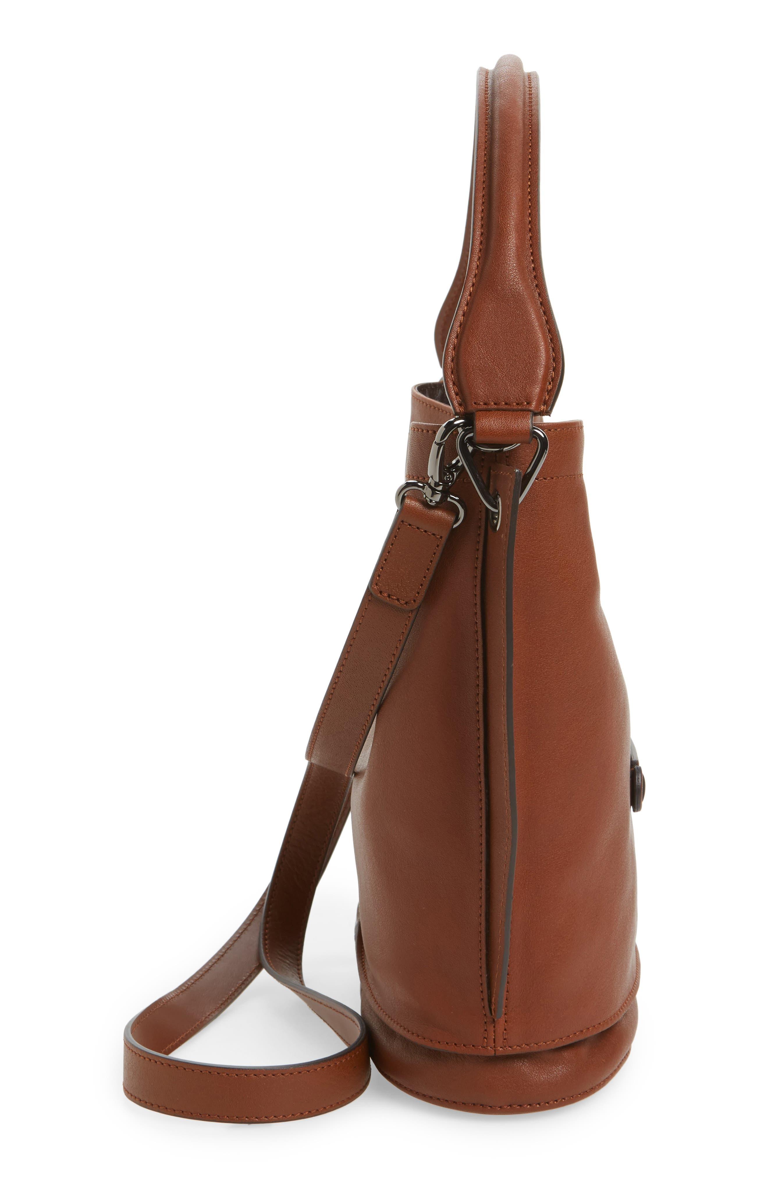 3D Leather Bucket Bag,                             Alternate thumbnail 5, color,                             COGNAC