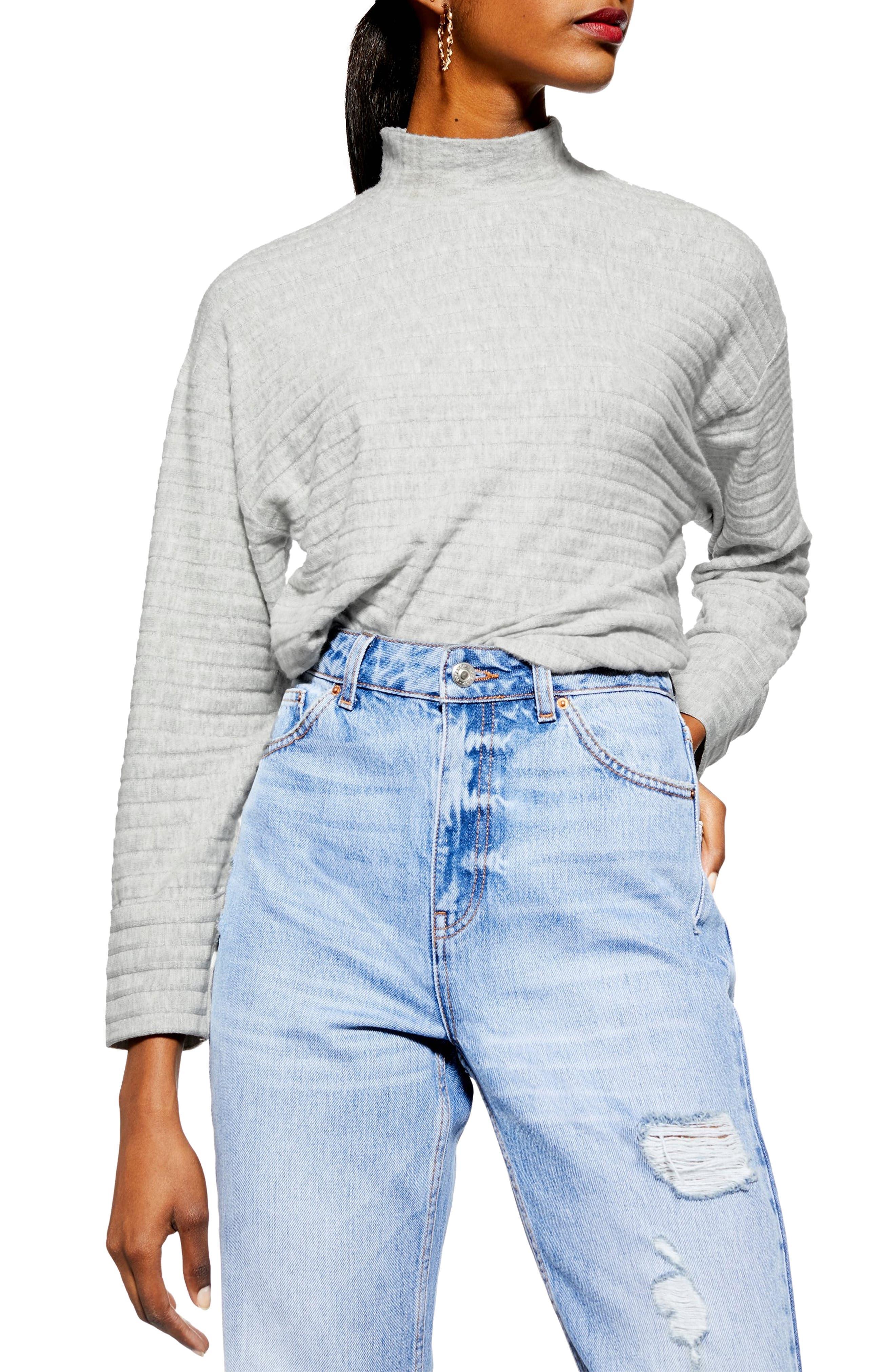 Chunky Rib Cut & Sew Pullover, Main, color, GREY