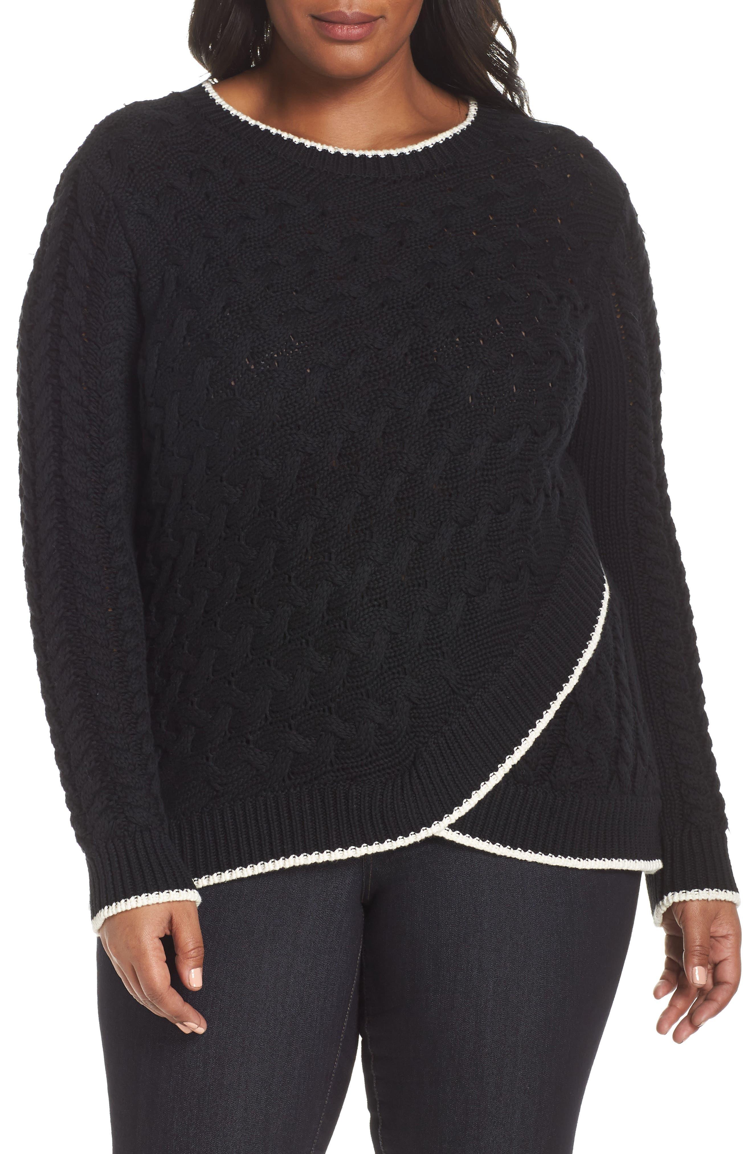 Contrast Trim Cable Sweater, Main, color, RICH BLACK