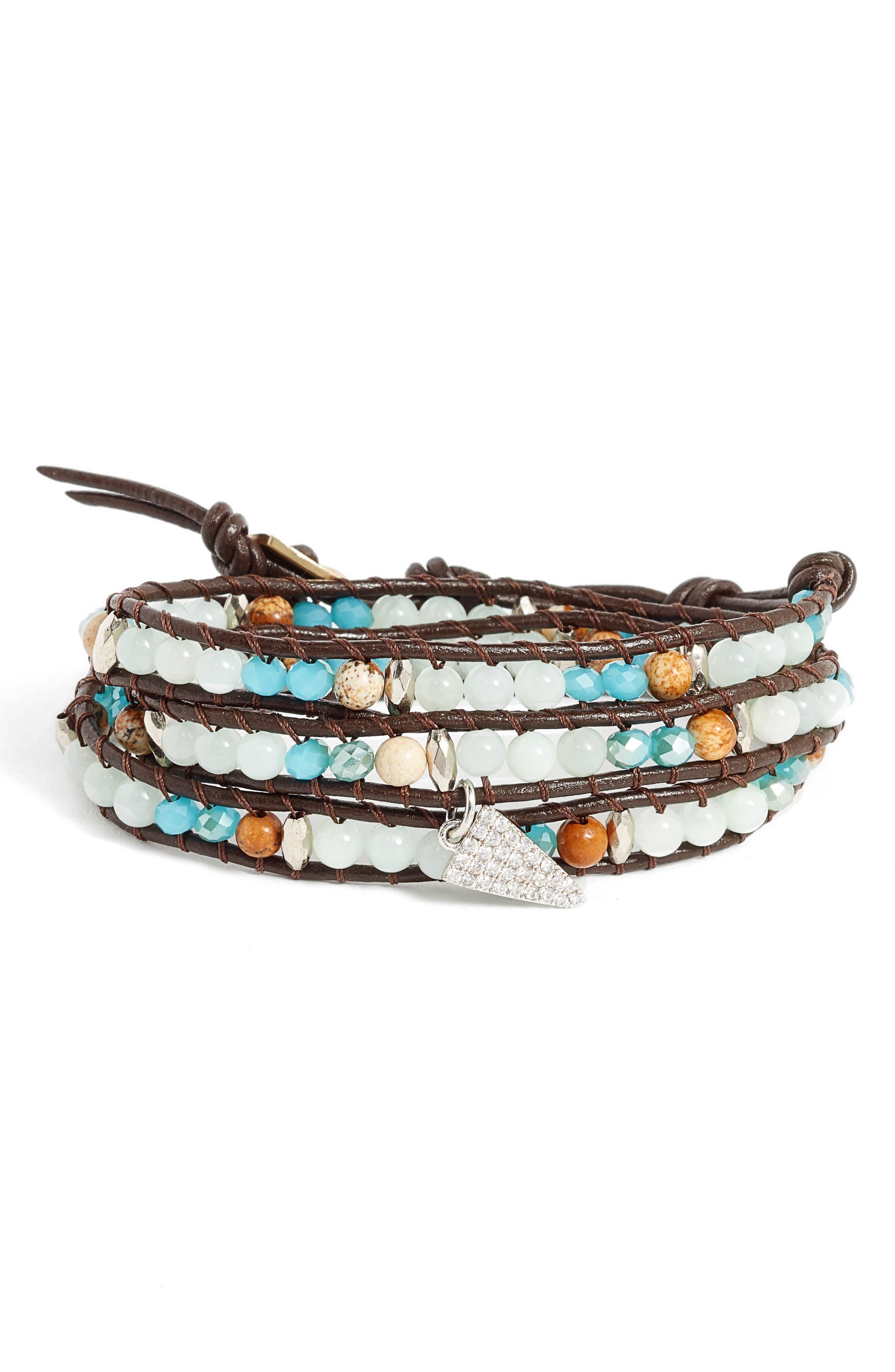 Triangle Charm Wrap Bracelet,                         Main,                         color,
