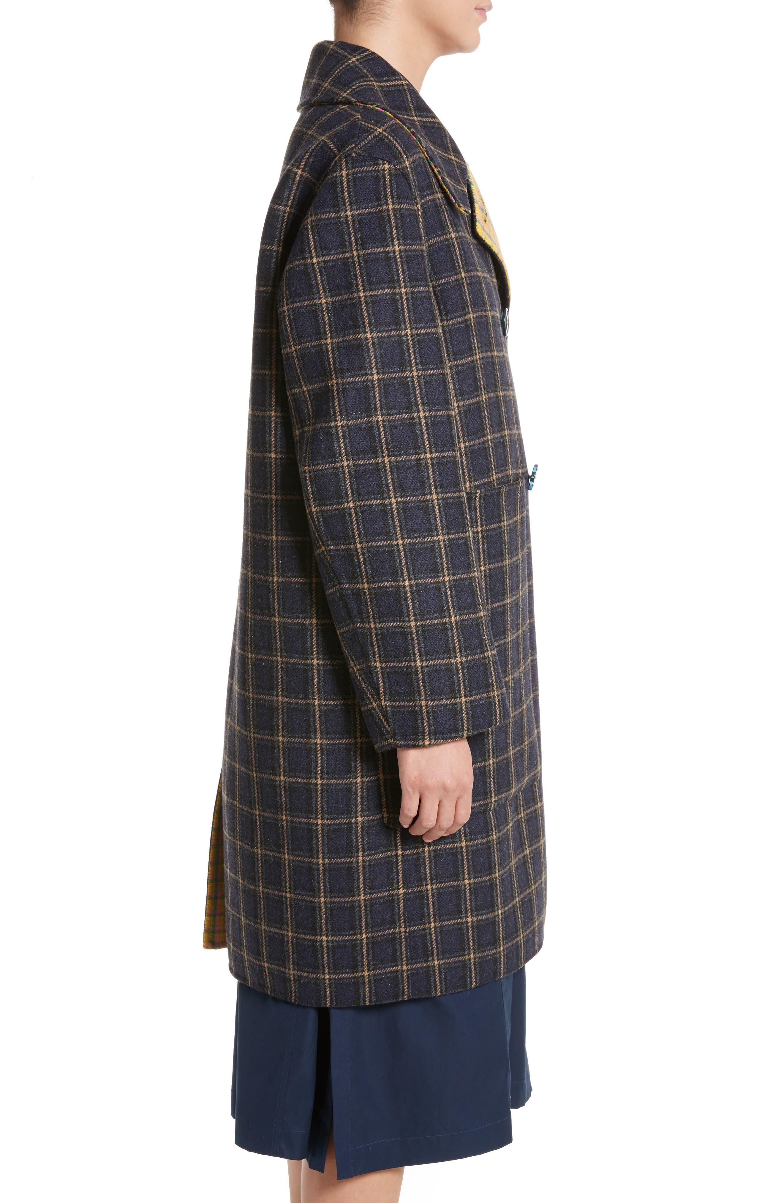 Plaid Wool Blend Car Coat,                             Alternate thumbnail 4, color,                             960