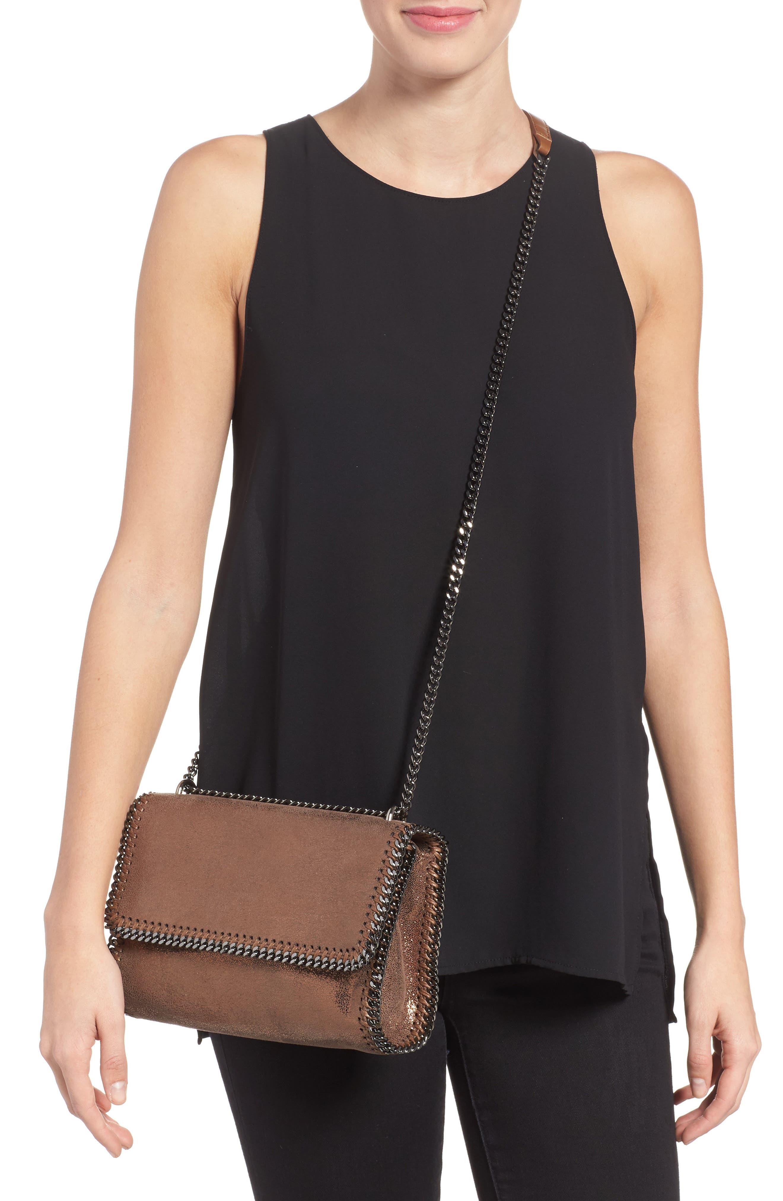 Falabella Metallic Faux Leather Convertible Shoulder Bag,                             Alternate thumbnail 2, color,                             200