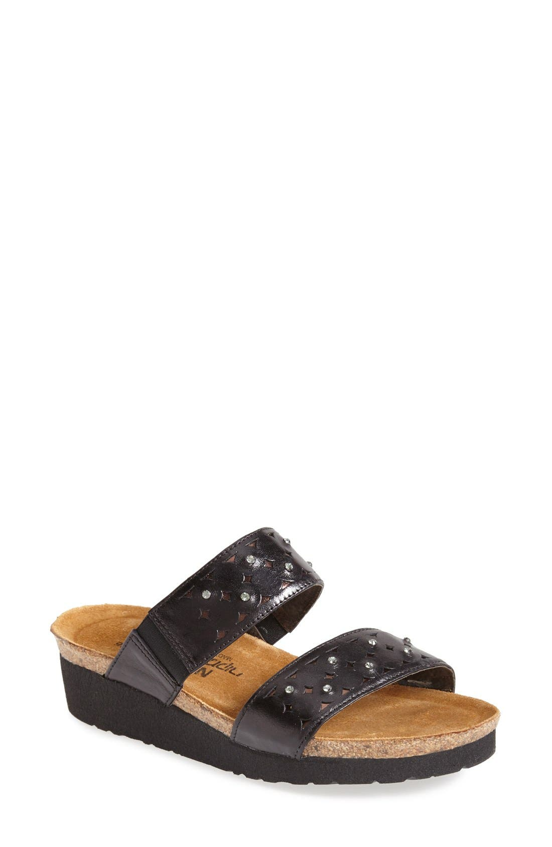 'Susan' Sandal,                             Main thumbnail 1, color,                             BLACK/ BROWN