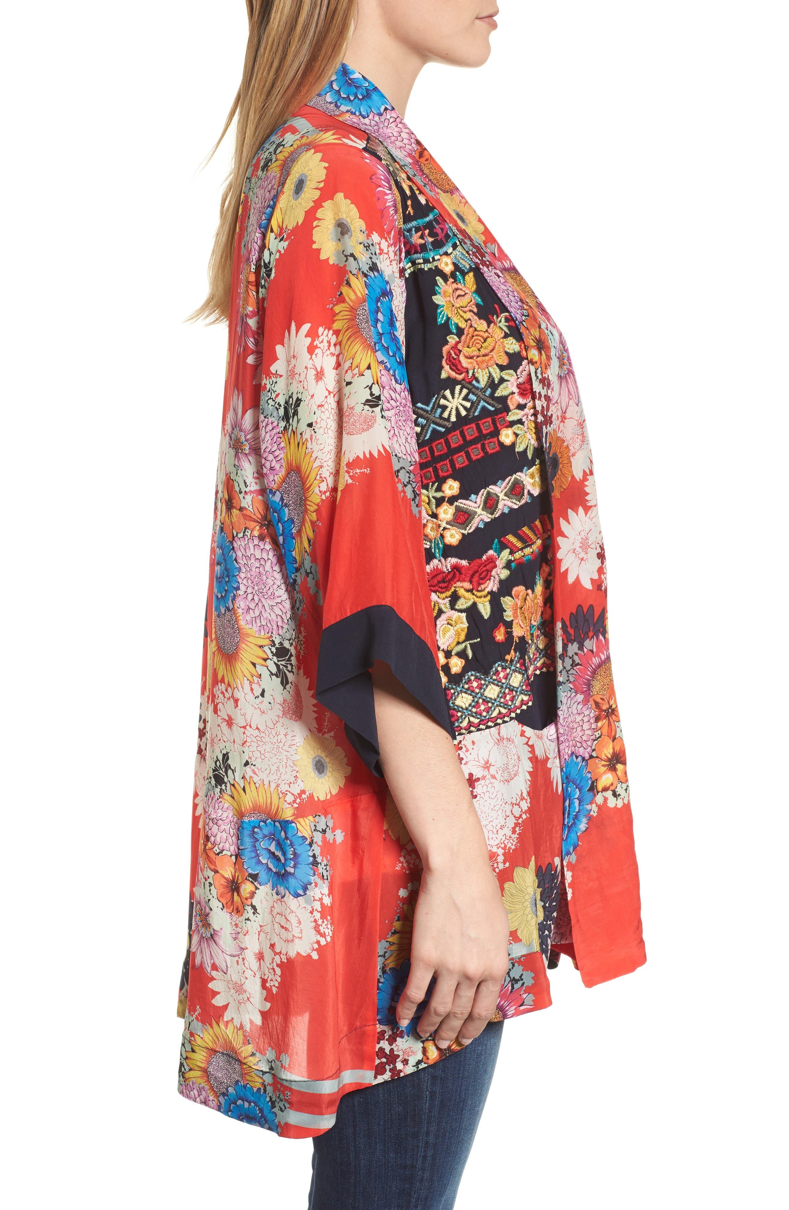 Mishka Embroidered Silk Kimono,                             Alternate thumbnail 3, color,                             600