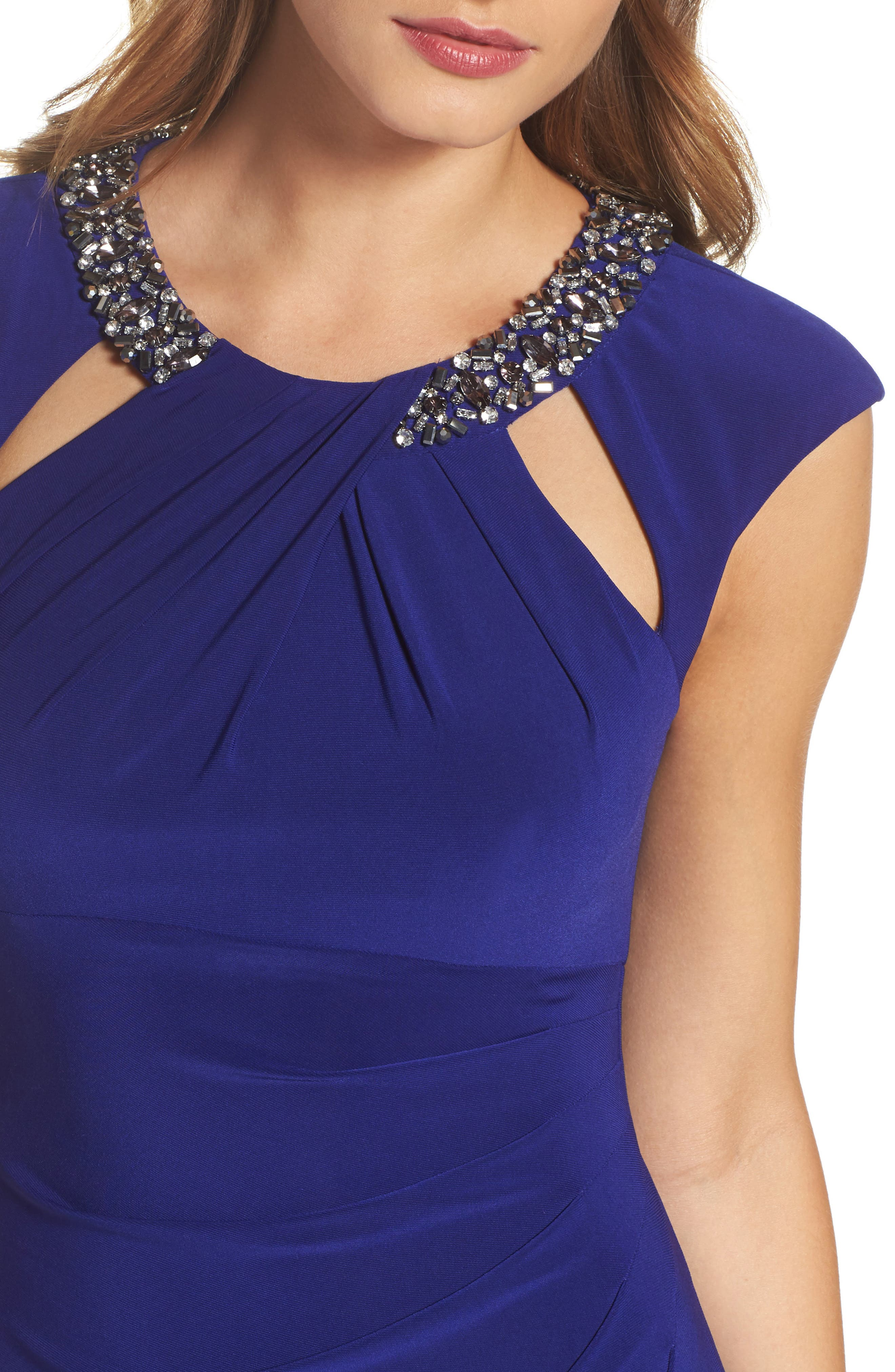 Jeweled Neck Column Gown,                             Alternate thumbnail 4, color,                             430