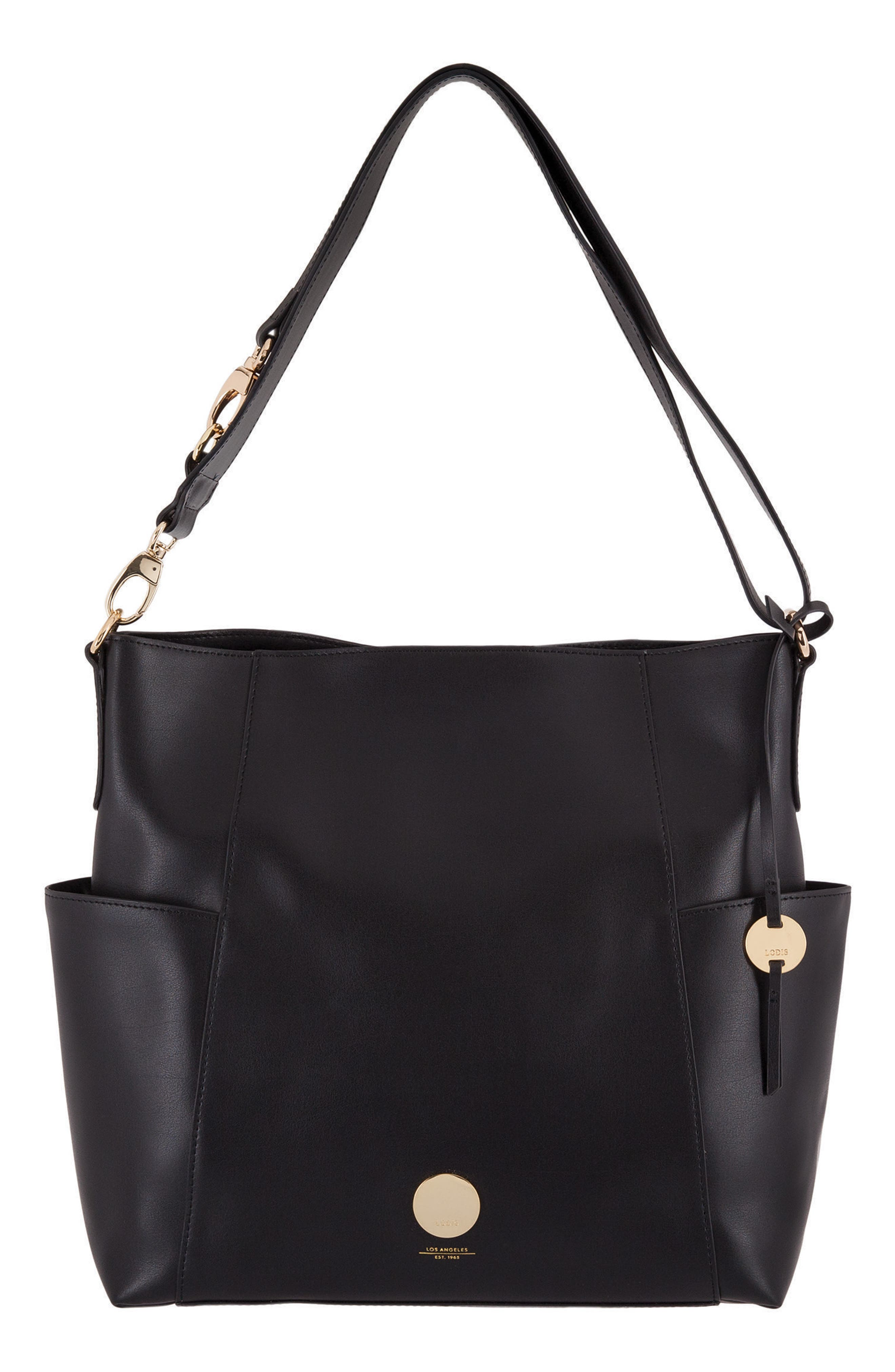 Rodeo Under Lock & Key – Jessie RFID Leather Bucket Bag,                             Main thumbnail 1, color,                             BLACK