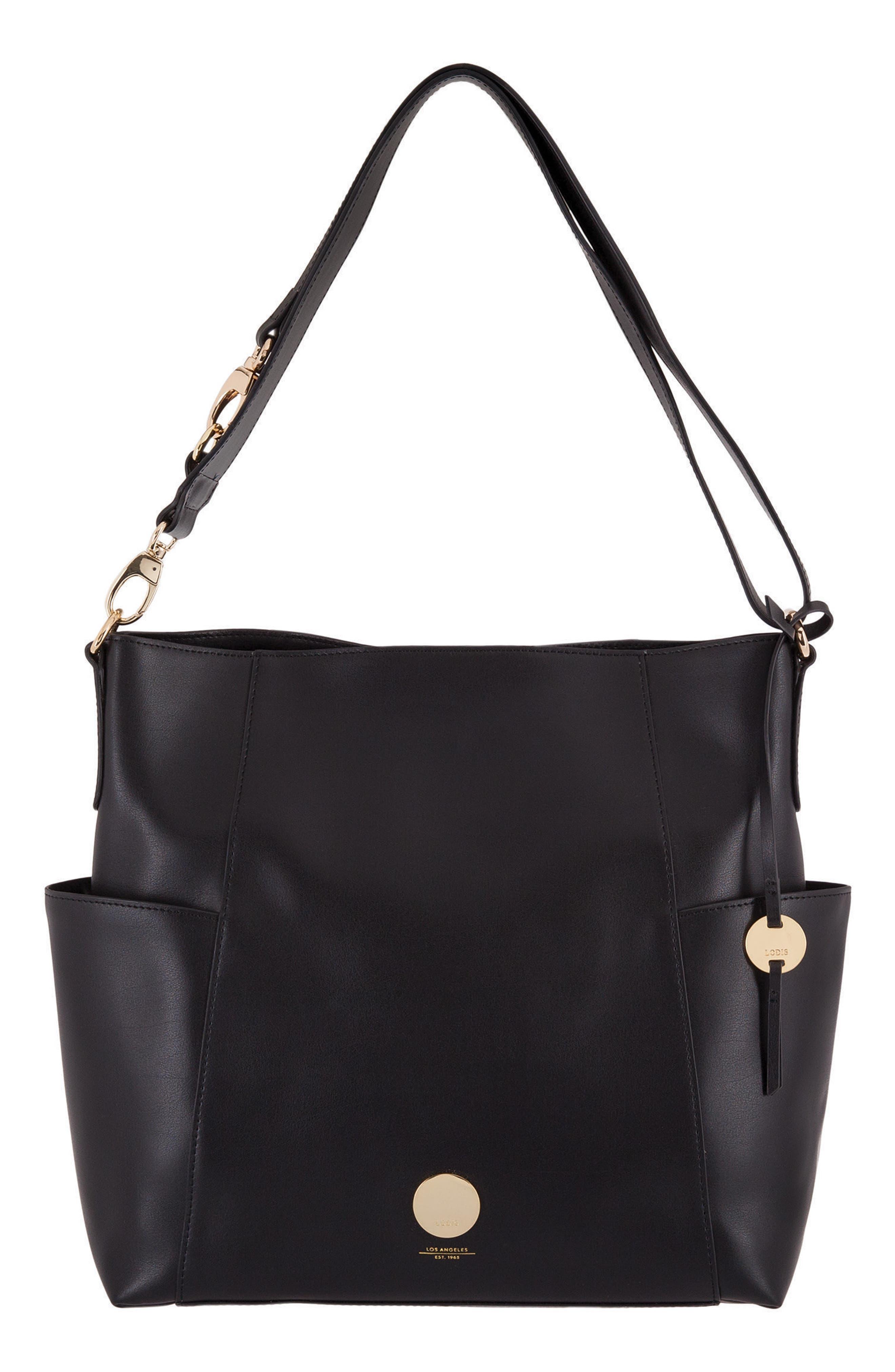 Rodeo Under Lock & Key – Jessie RFID Leather Bucket Bag,                         Main,                         color, BLACK